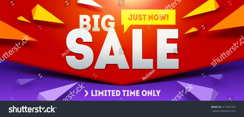 Big Sale Banner Sale Discounts Vector Stock Vector 311461337 ...