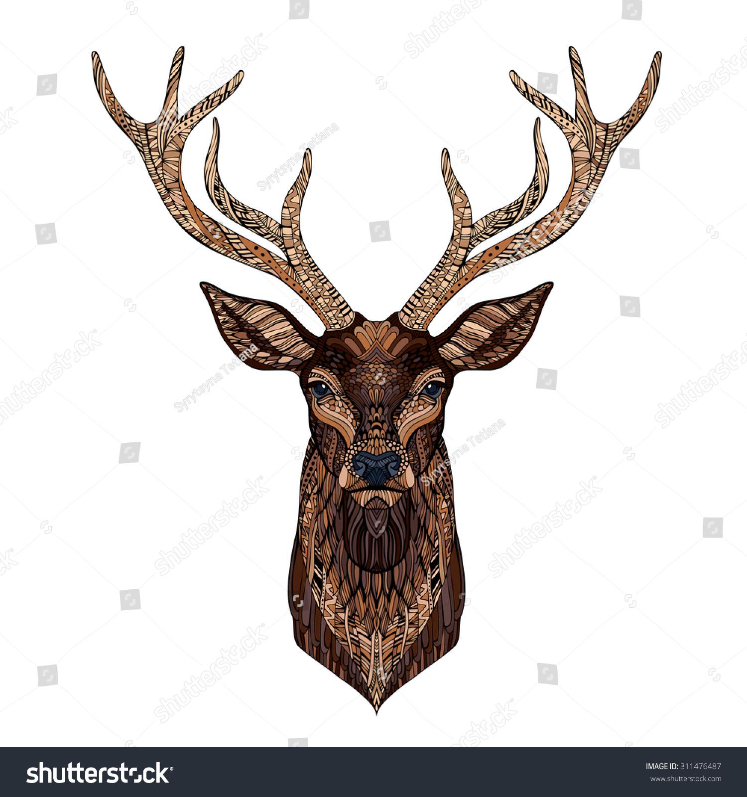 Deer Head Stylized Zentangle Style Tribal Stock Vector ...
