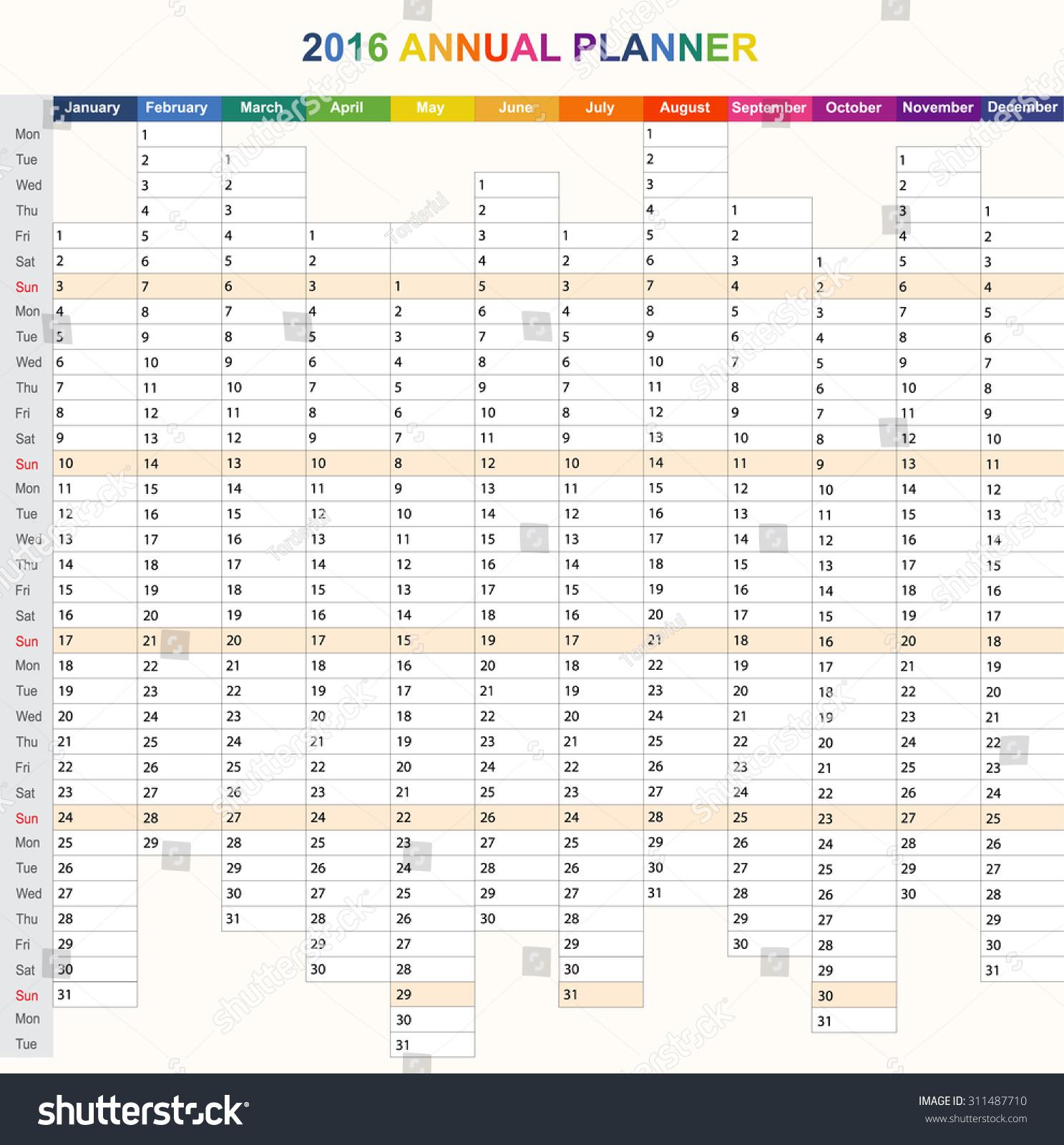 Daily Calendar Template 2016 : Daily weekly vector planner calendar stock