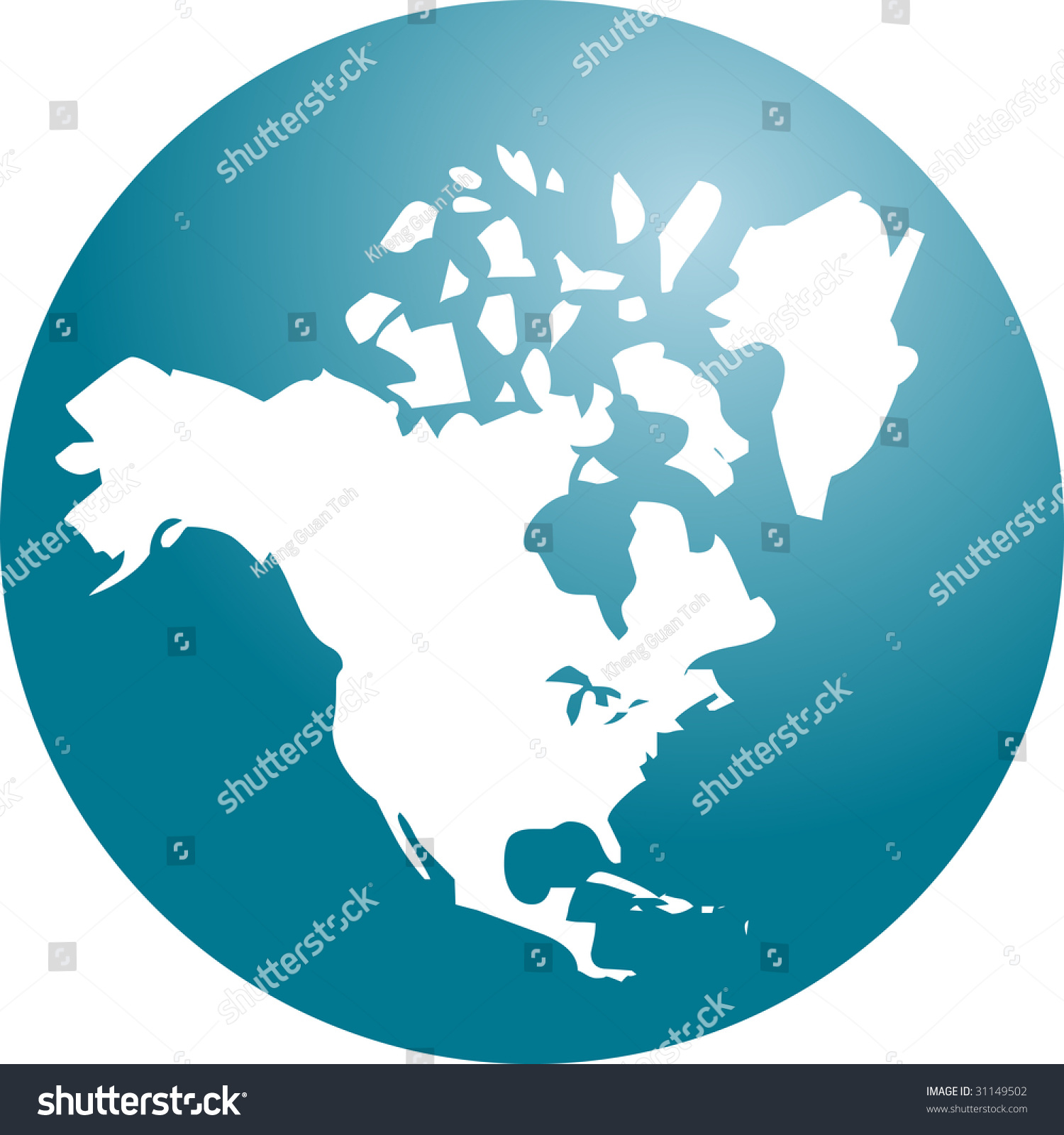 Map North American Continent Usa Canada Stock Vector 31149502