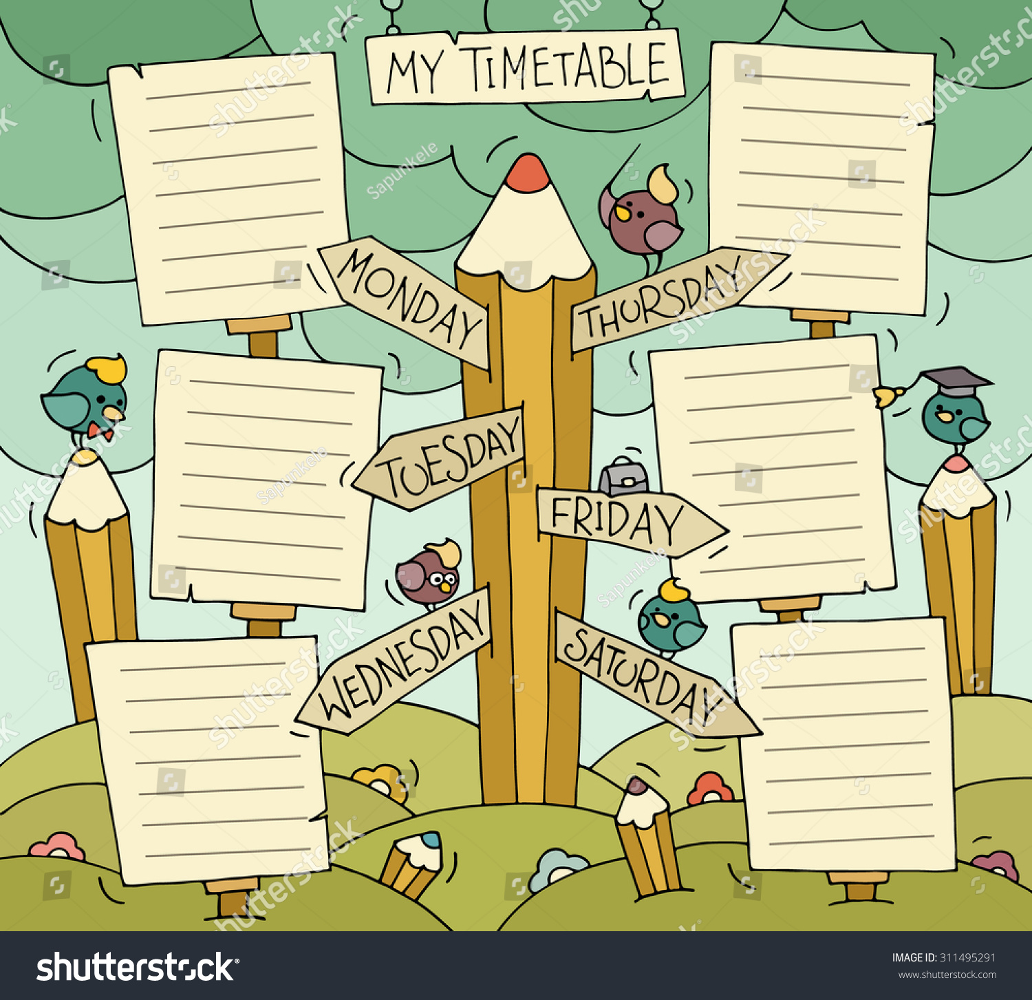 Quotes On School Time Table: Cartoon School Timetable Little Cute Bird Stock Vector