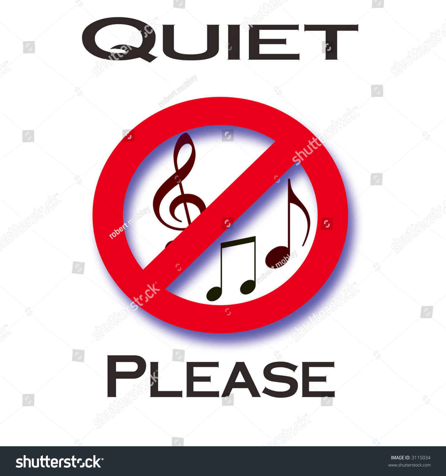 Red Music Notes In Slash Circle Quiet Please Poster Stock ...
