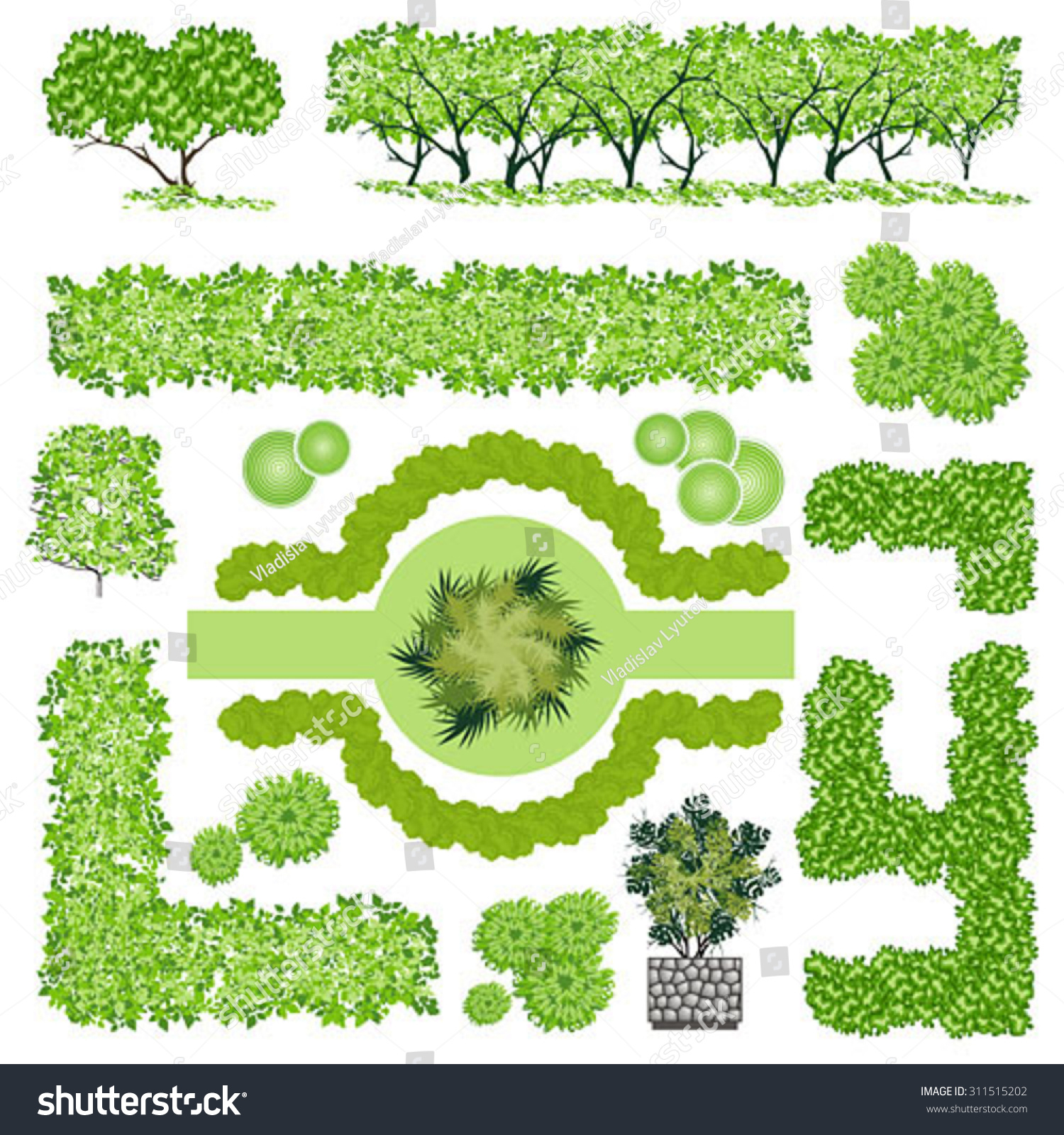trees bush item top view landscape stock vector 311515202