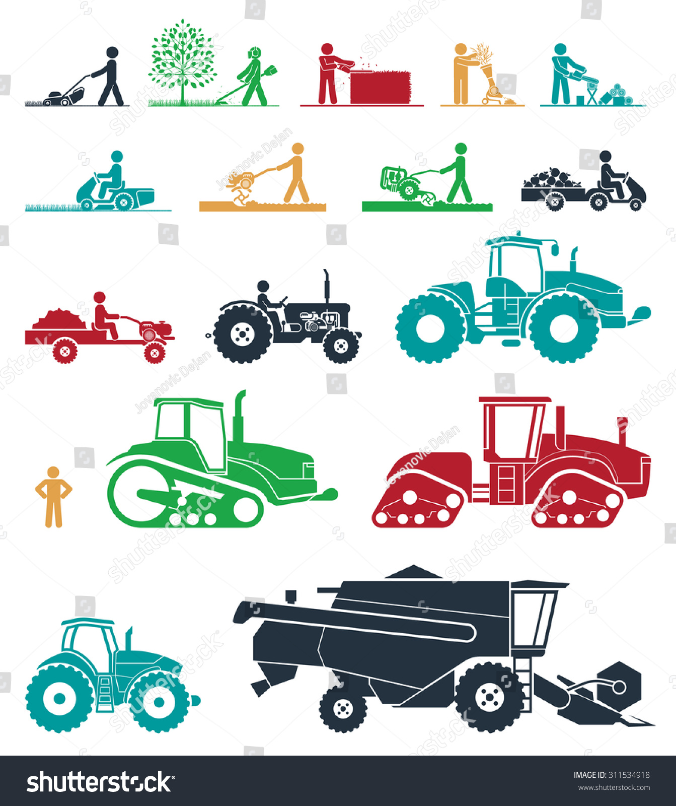 Set different types agricultural vehicles gardening stock for Different tools and equipment in horticulture
