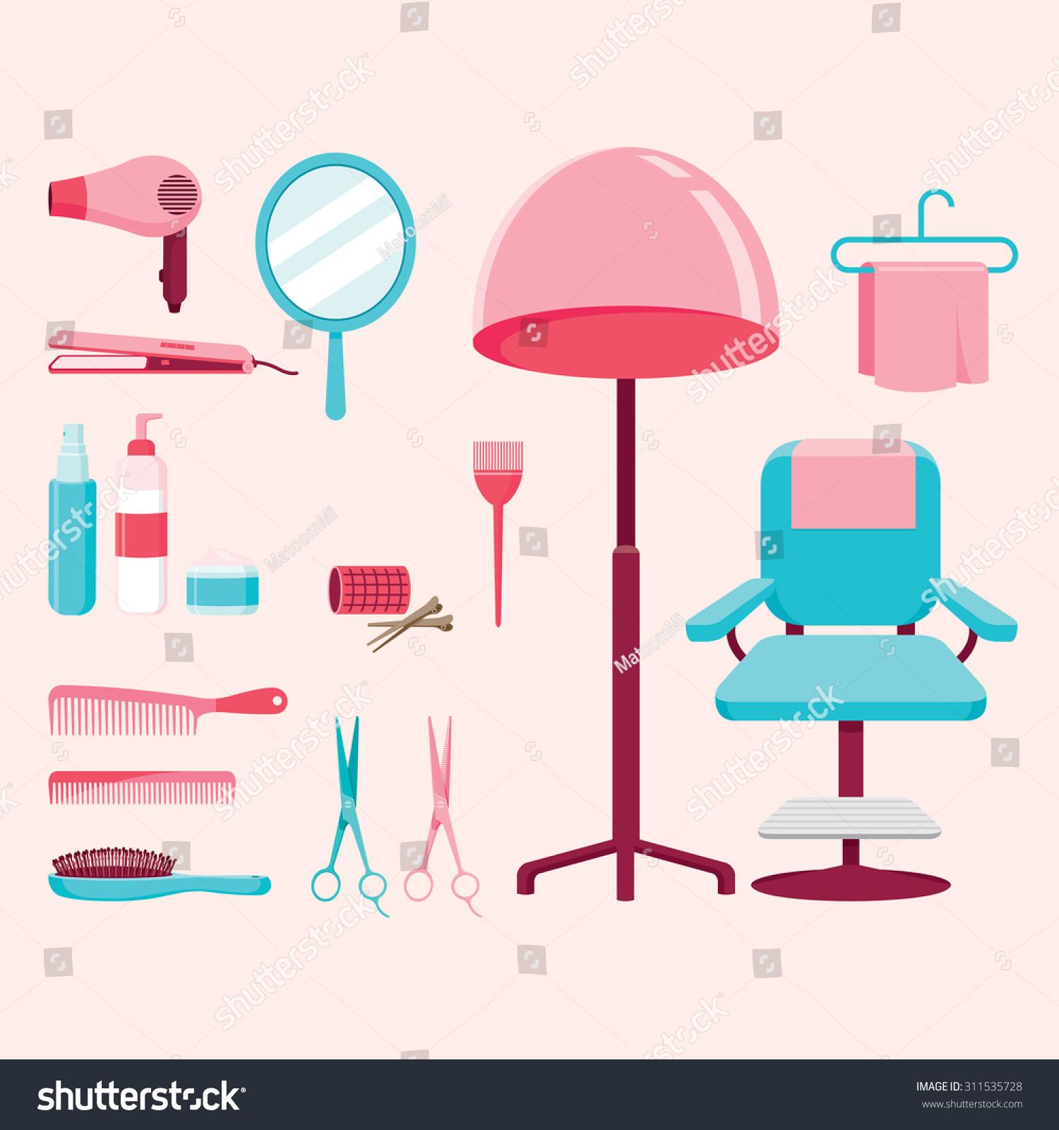 Hair Salon Equipments Set Hairdressing Beauty Stock-Vektorgrafik ...