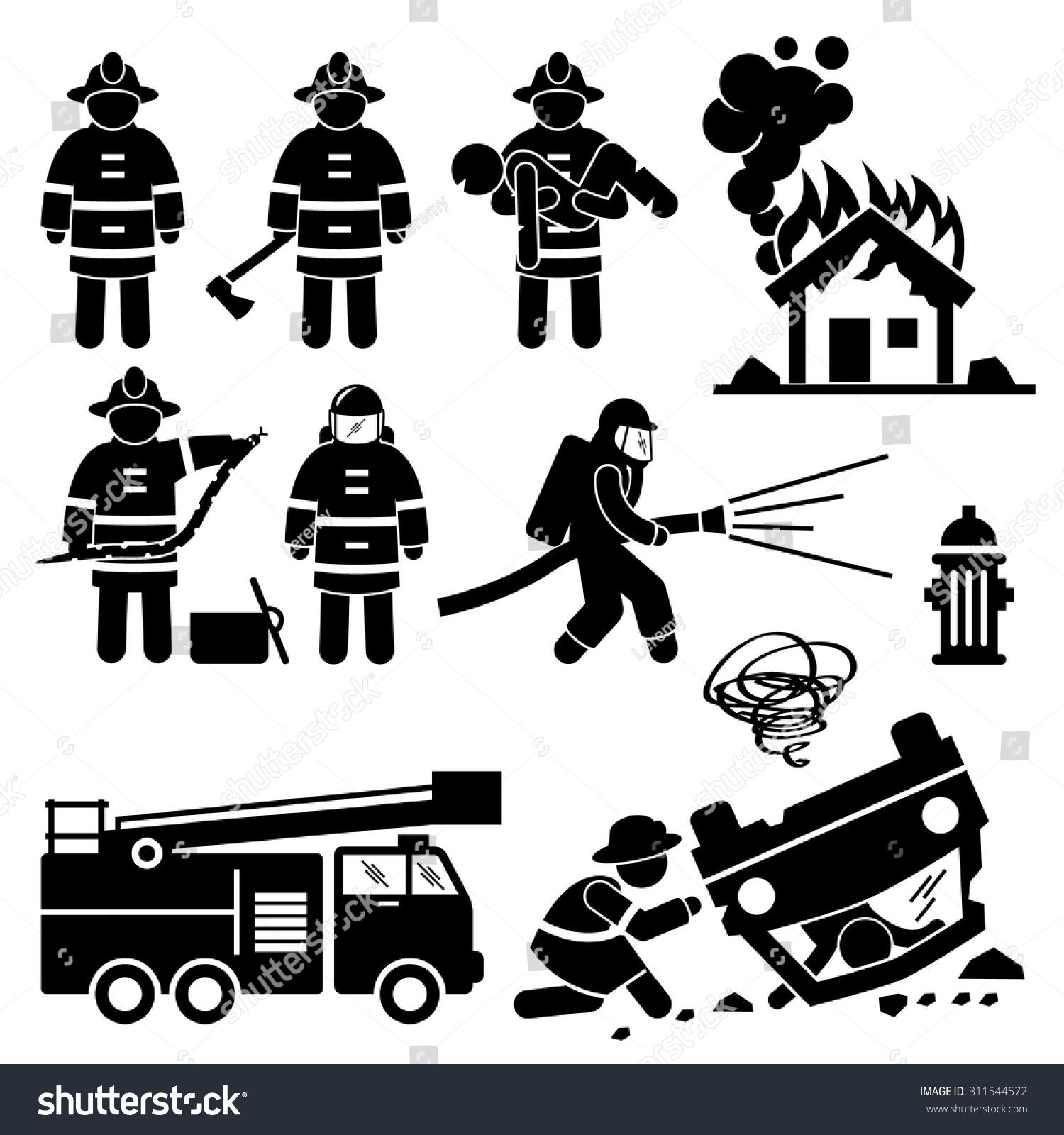 firefighter fireman rescue stick figure pictogram stock