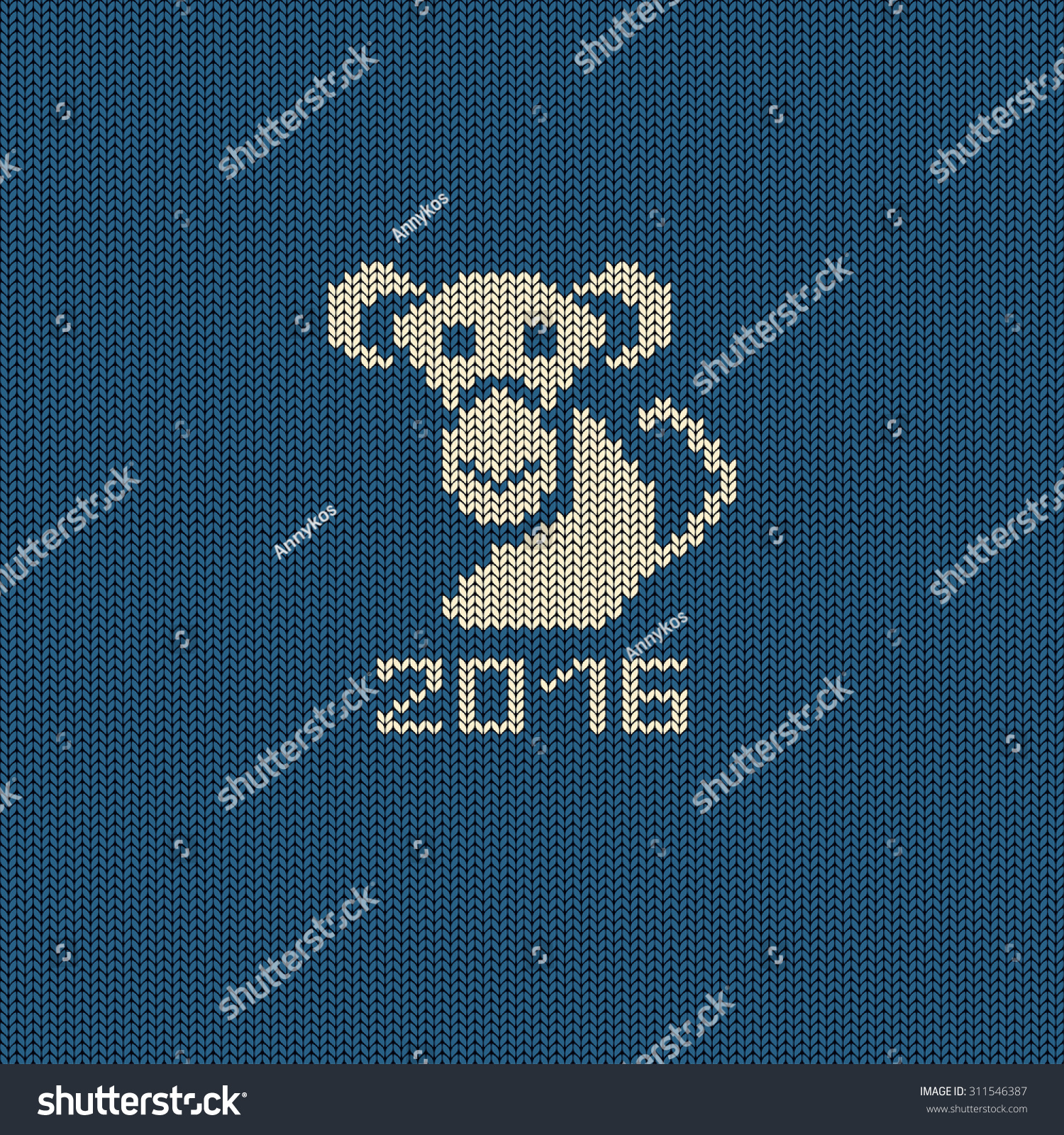 Knitted Pattern Card Funny Monkey Chinese Stock Vector (Royalty Free ...