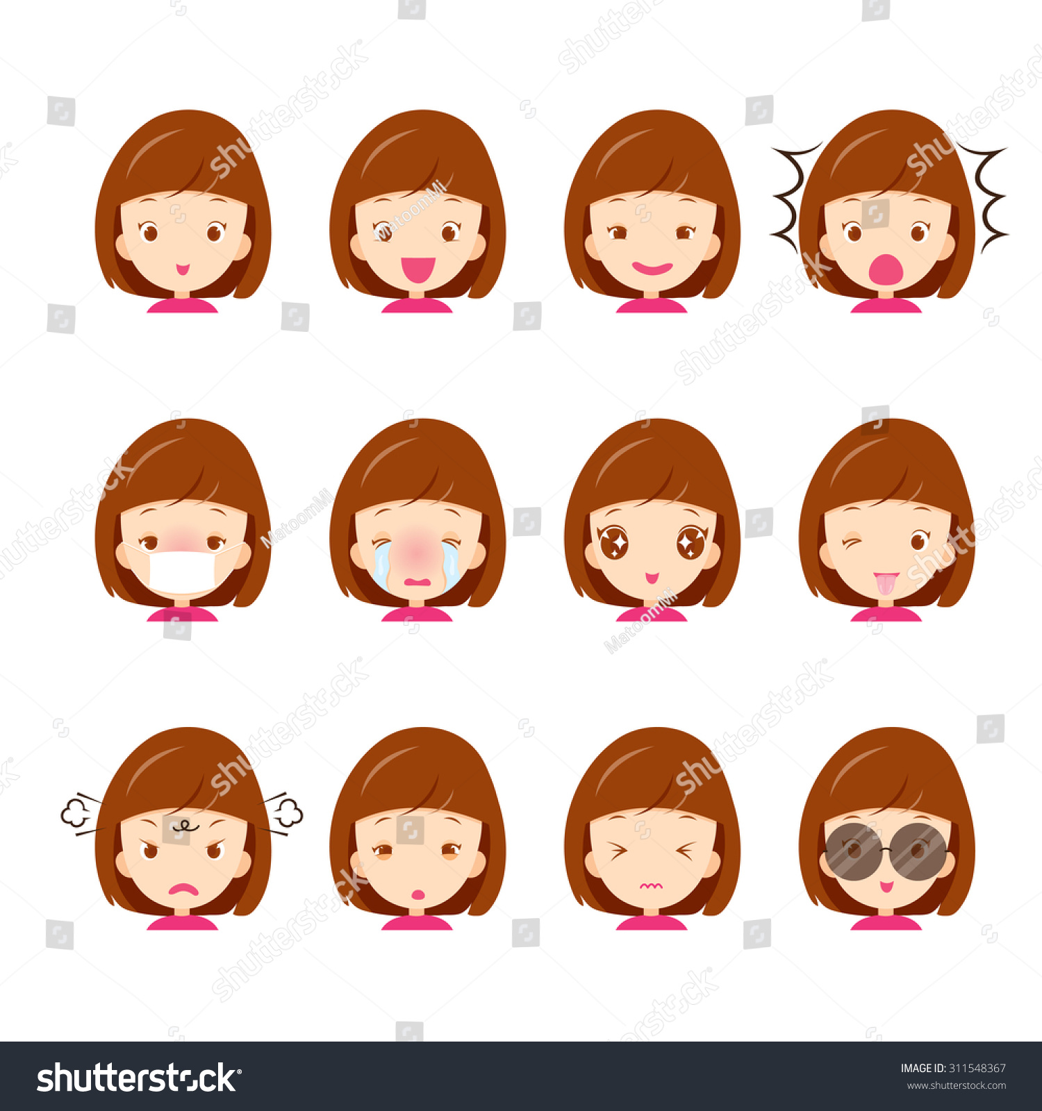 Emoticon Icons Set Cute Girl Various Stock Vector Royalty Free