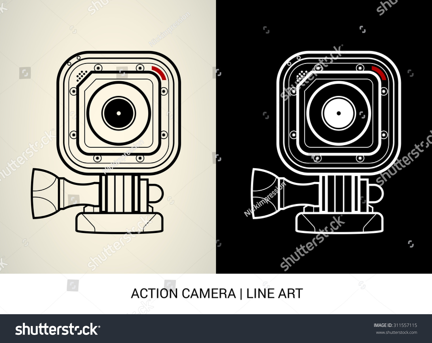 Line Art Action Photo : Vector line art action camera stock
