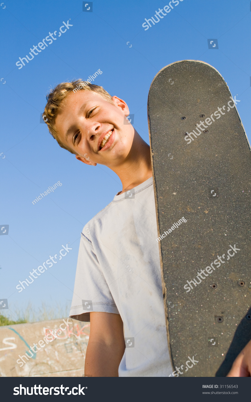 Young Teen Boys Together Skateboard On Stock Photo (Edit Now ...
