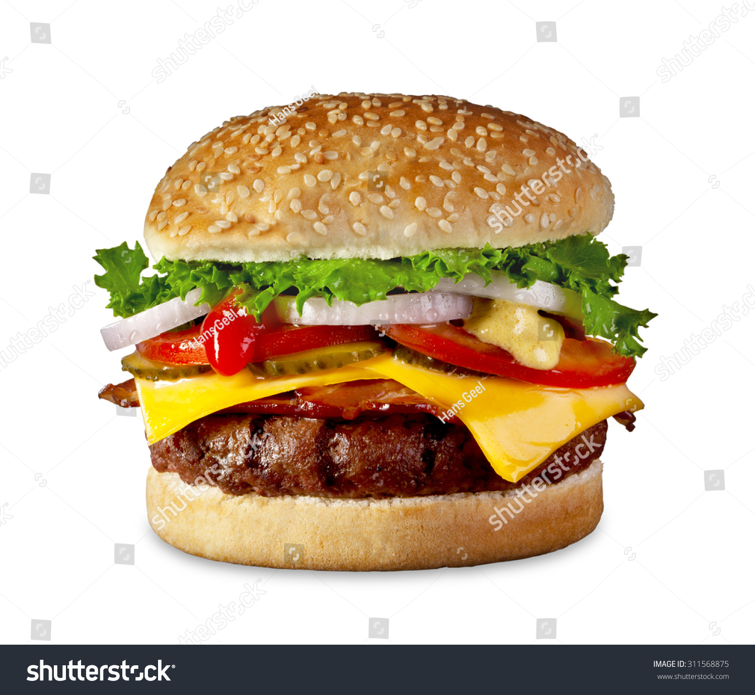 the perfect hamburger with cheese bacon pickles tomato. Black Bedroom Furniture Sets. Home Design Ideas