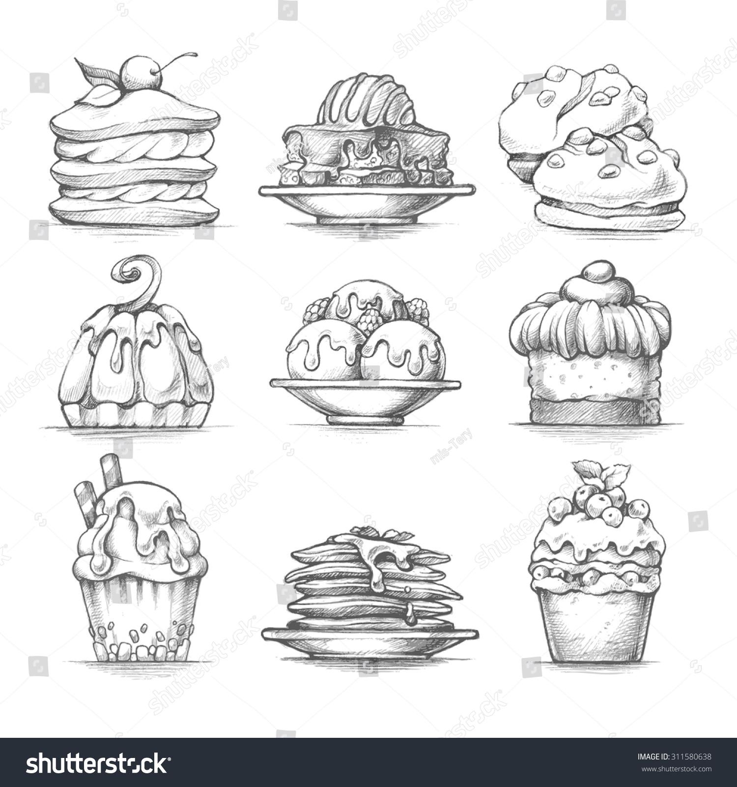 Vector Set Sketch Illustrations Desserts Food Stock Vector ...