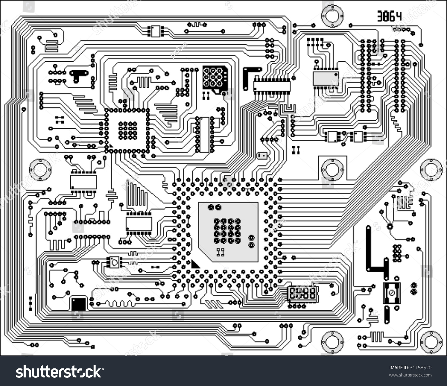Circuit Board Electronic Background. Mother Board