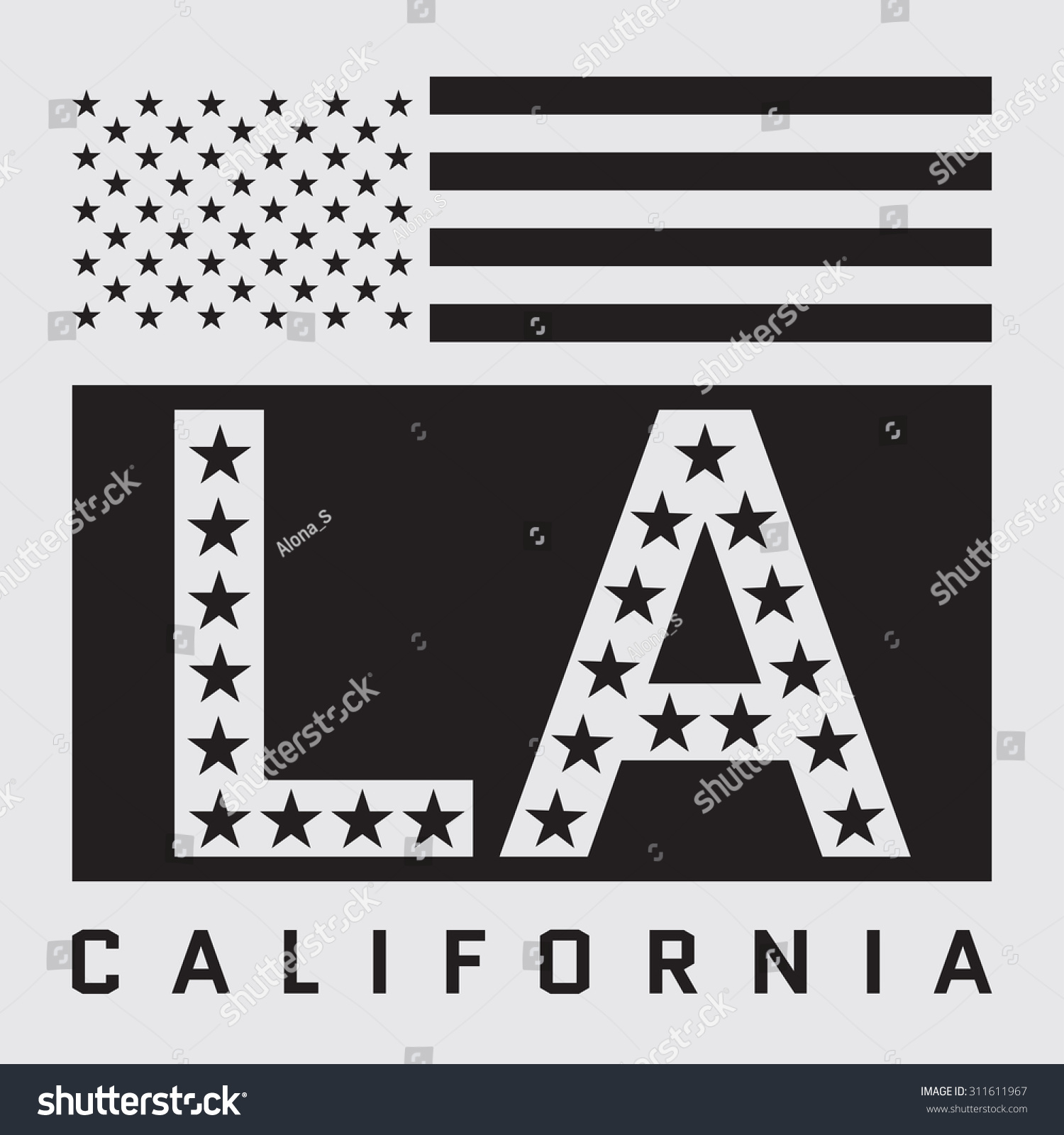 Los Angeles California Typography American Flag Stock Vector - Los angeles poster black and white