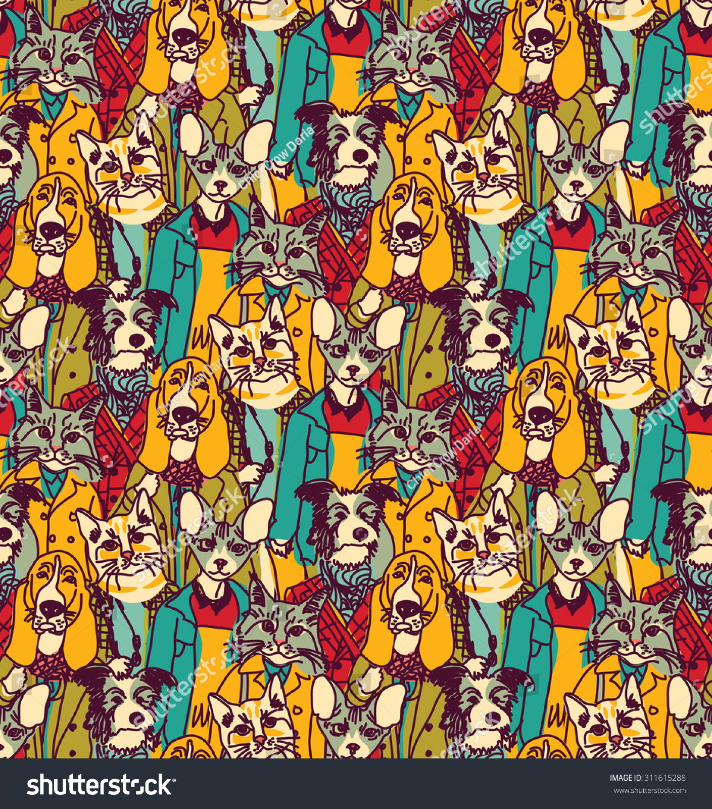 Color cats like - Crowd People Like Cats And Dogs Seamless Pattern Big Group Of Pets Looking Like People