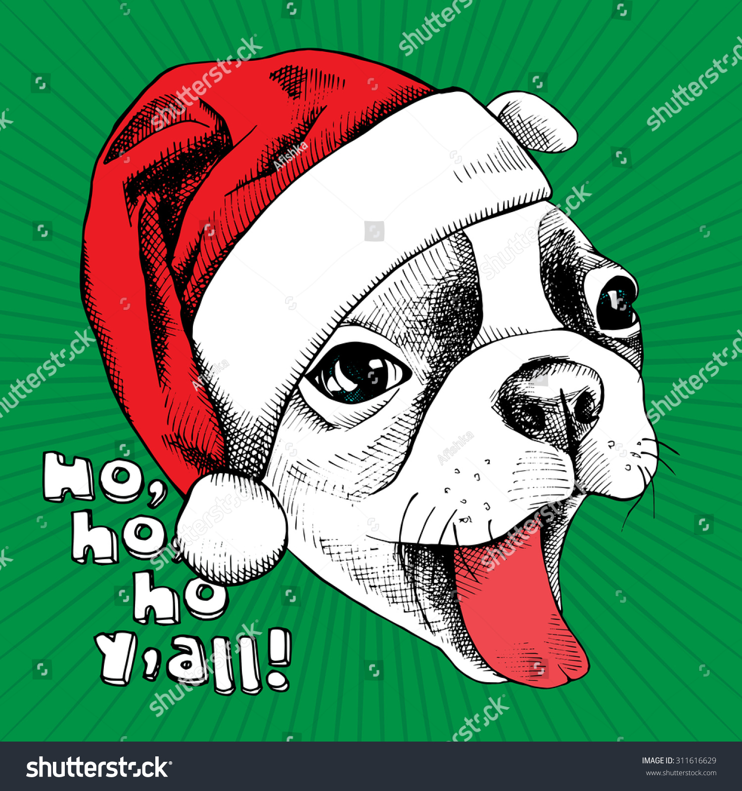 Christmas Card Portrait Cheerful French Bulldog Stock Vector ...