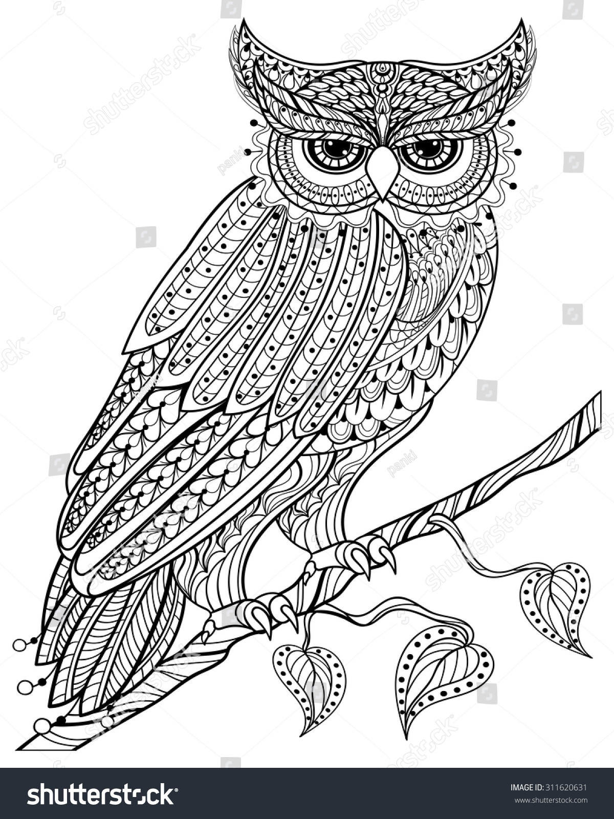 Anti stress colouring book free - Anti Stress Colouring Books For Adults Zentangle Magic Owl Sitting On Branch For Adult Anti
