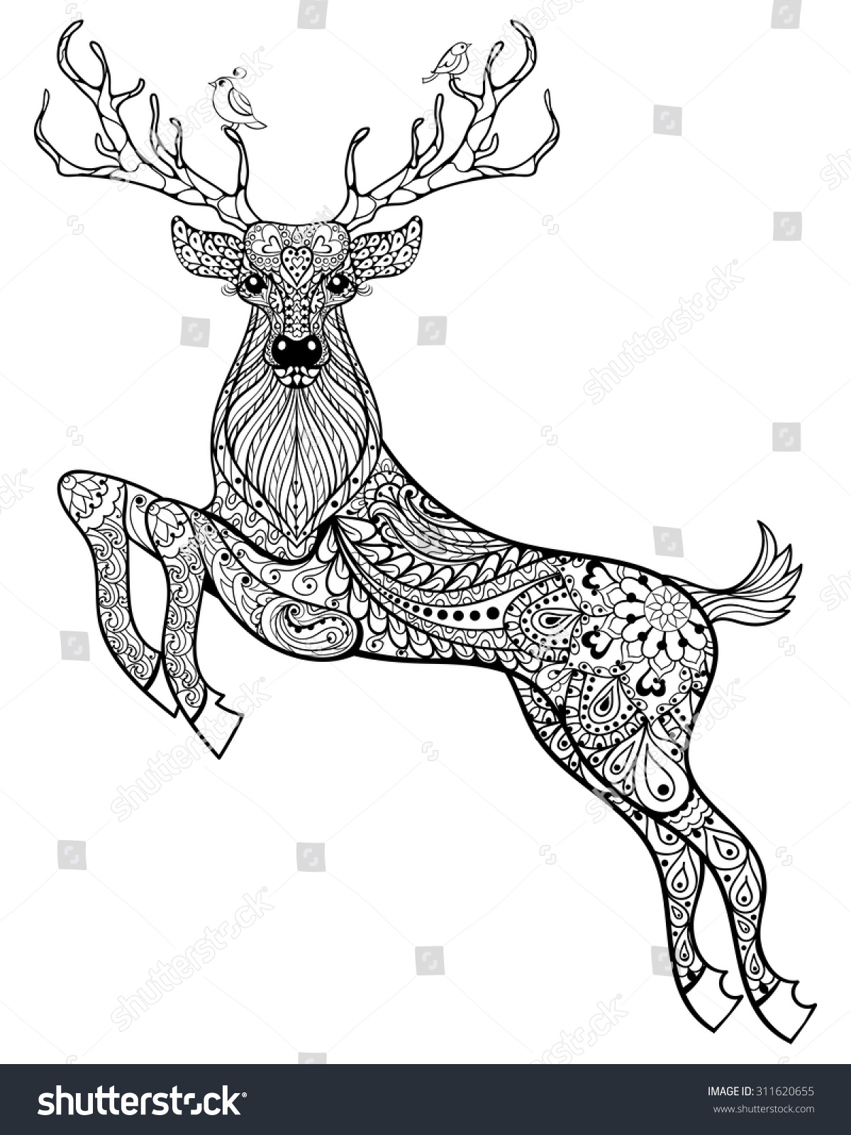 deer hand drawn christmas magic horned stock vector 311620655