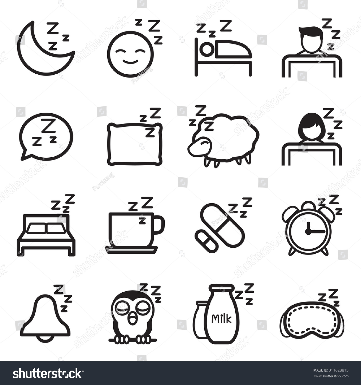 Sleep Icon Symbol Illustration Set Stock Vector 311628815