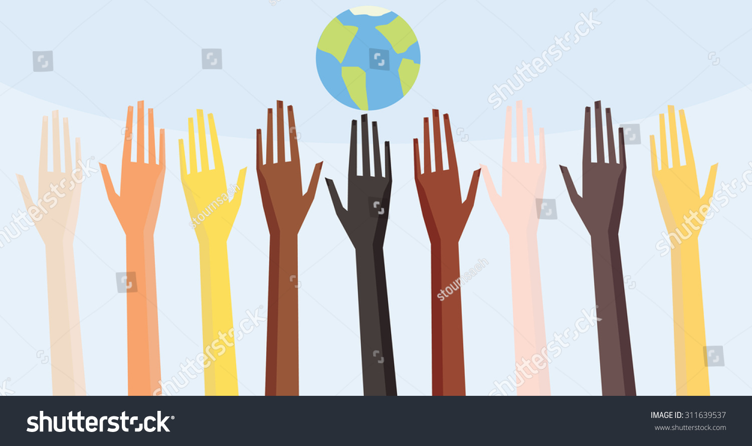 Race Equality Symbol Illustration of a people's hands with different ...