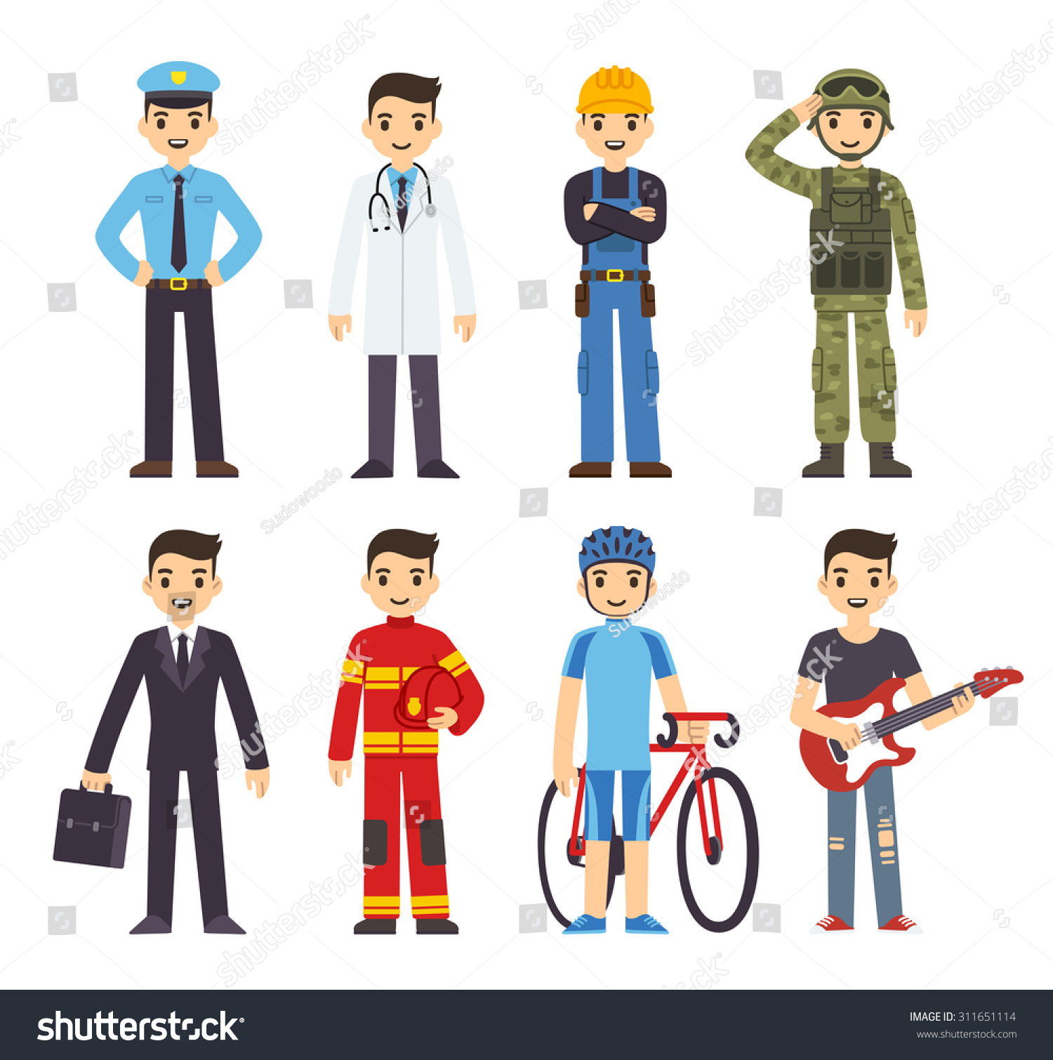 Cartoon Men 8 Different Professions Policeman Stock Vector
