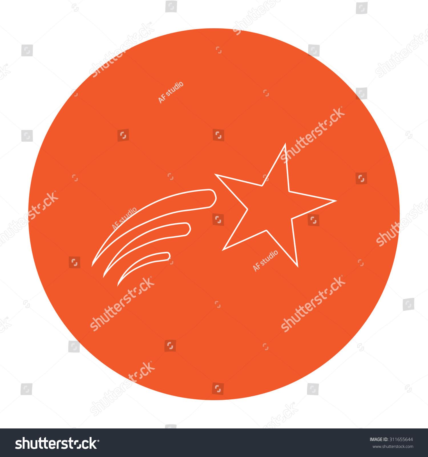 Shooting Star Flat White Symbol Orange Stock Illustration 311655644