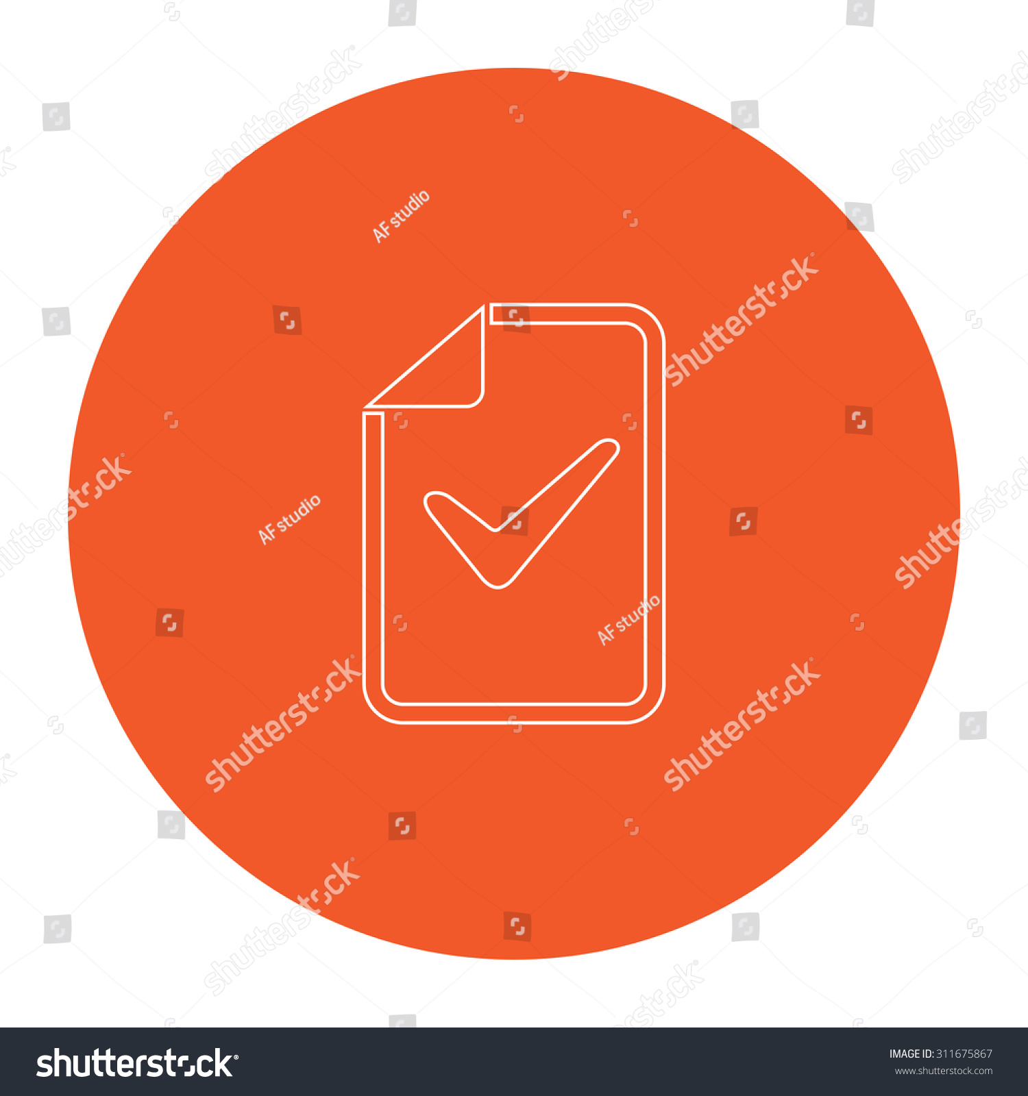 Document check mark flat white symbol stock illustration 311675867 document with check mark flat white symbol in the orange circle outline illustration icon biocorpaavc Image collections