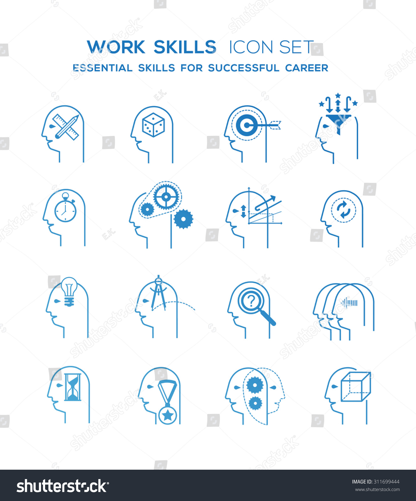 line icons set representing abstract symbols stock vector line icons set representing abstract symbols of personal skills essential for successful education and career
