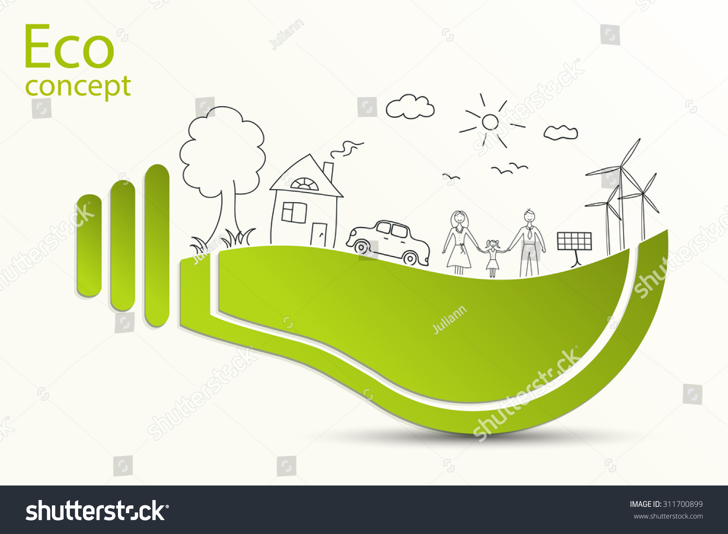 Green Light Bulb Idea Creative Drawing Ecological Concepts With Vector Infographic Template For Diagram Id 311700899