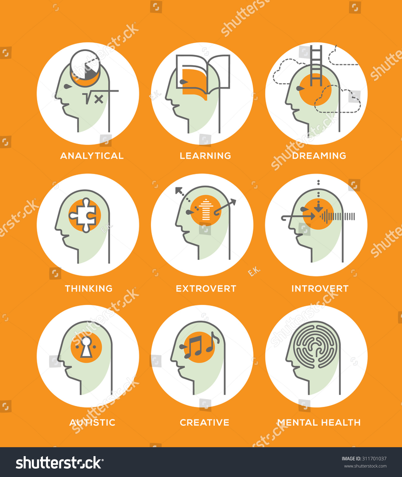 Line Icons Set Representing Abstract Symbols Stock Vector Royalty