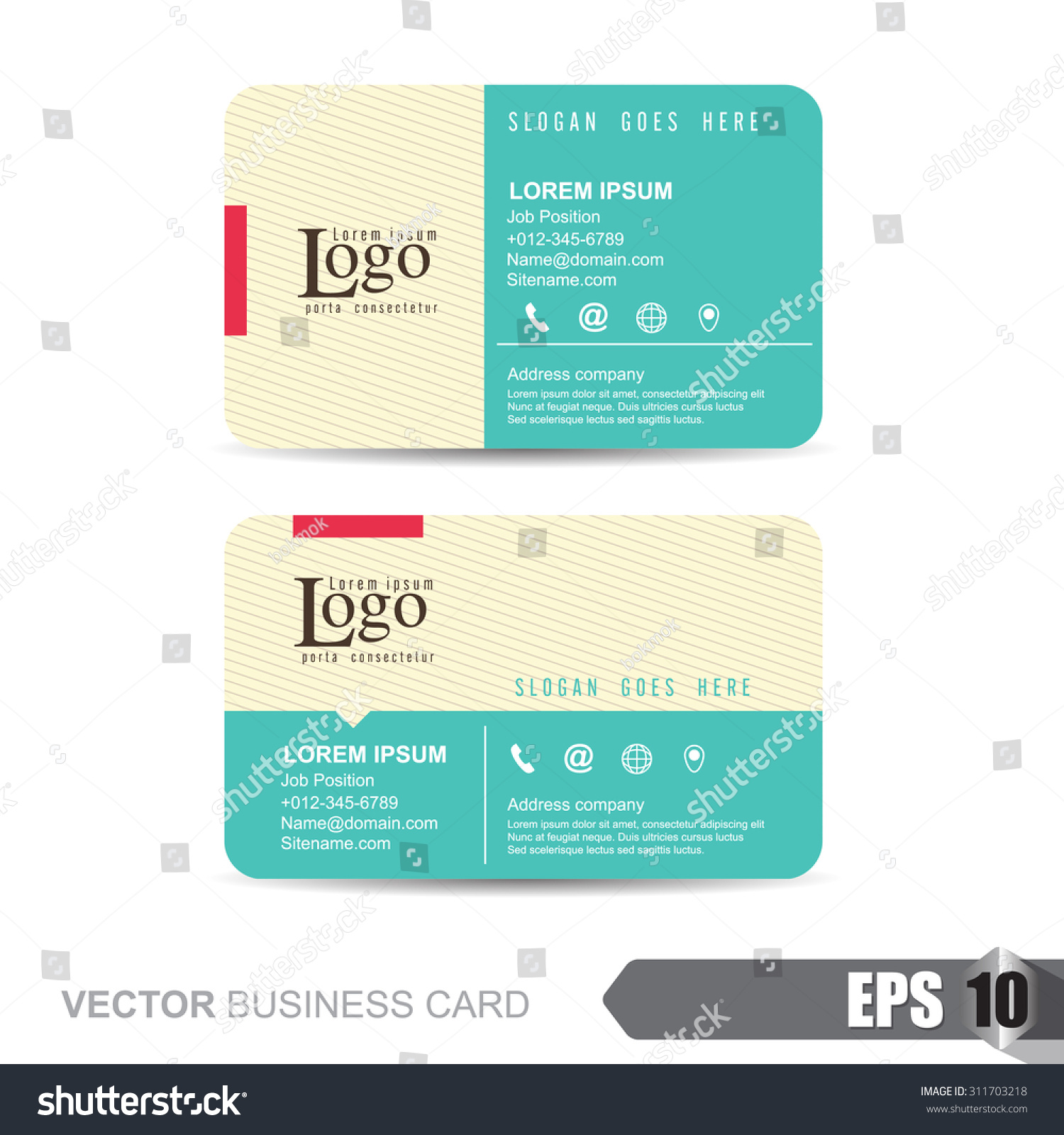 Vector Illustration Business Card Template With Clean And