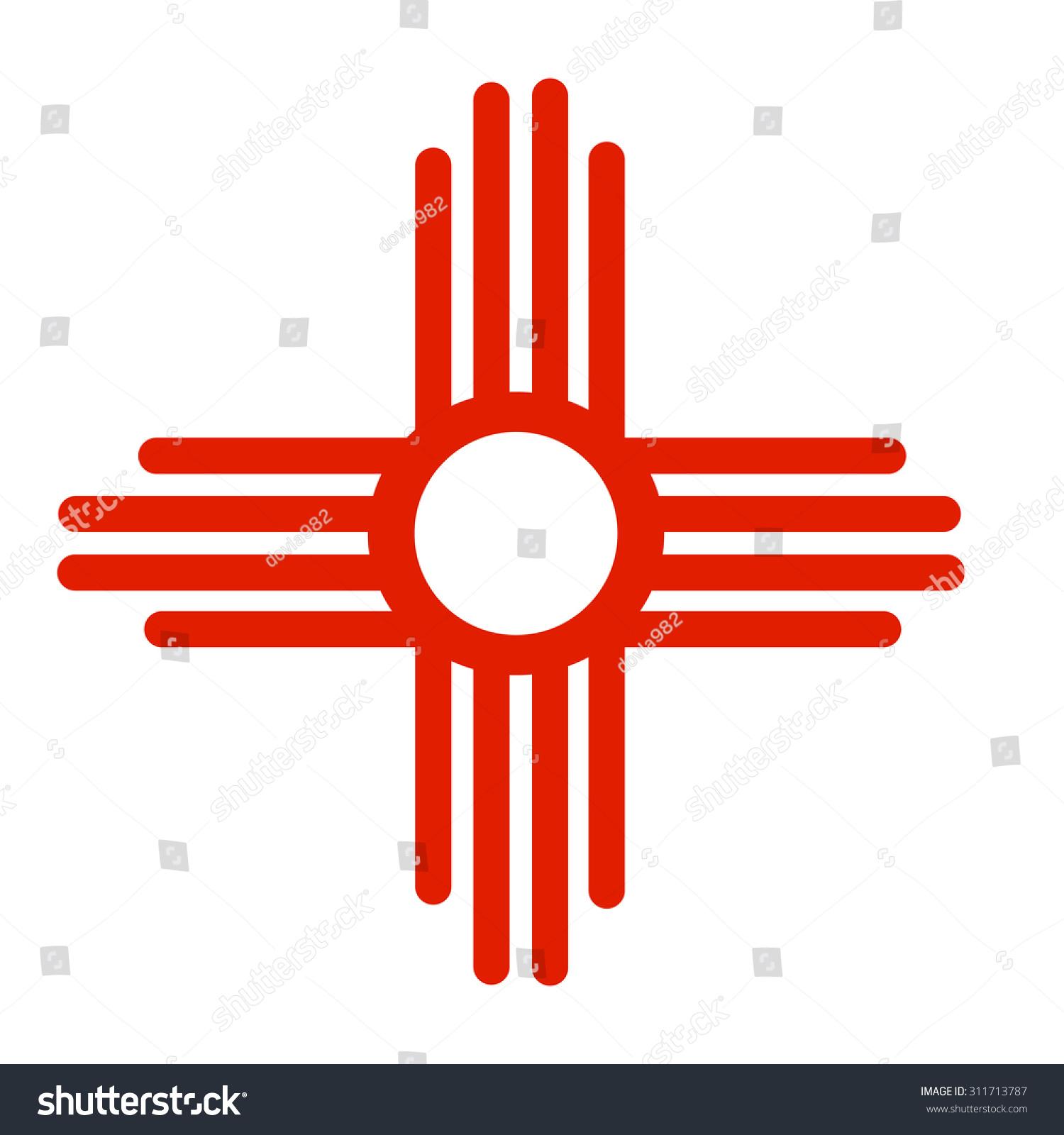Ancient Sun Symbol Zia Native American Stock Vector Royalty Free