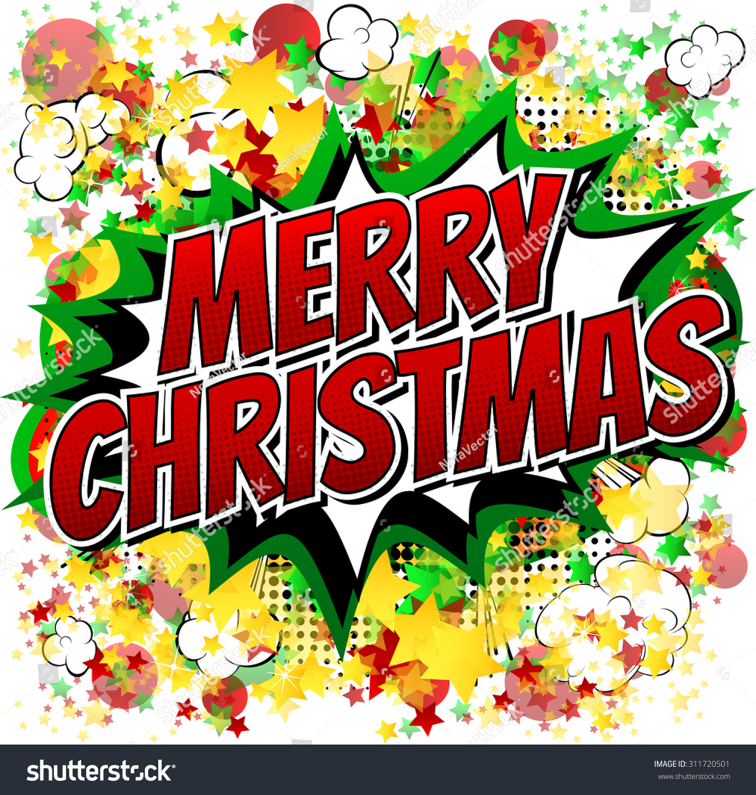 Merry Christmas Comic Book Style Word Stock Vector 311720501 ...