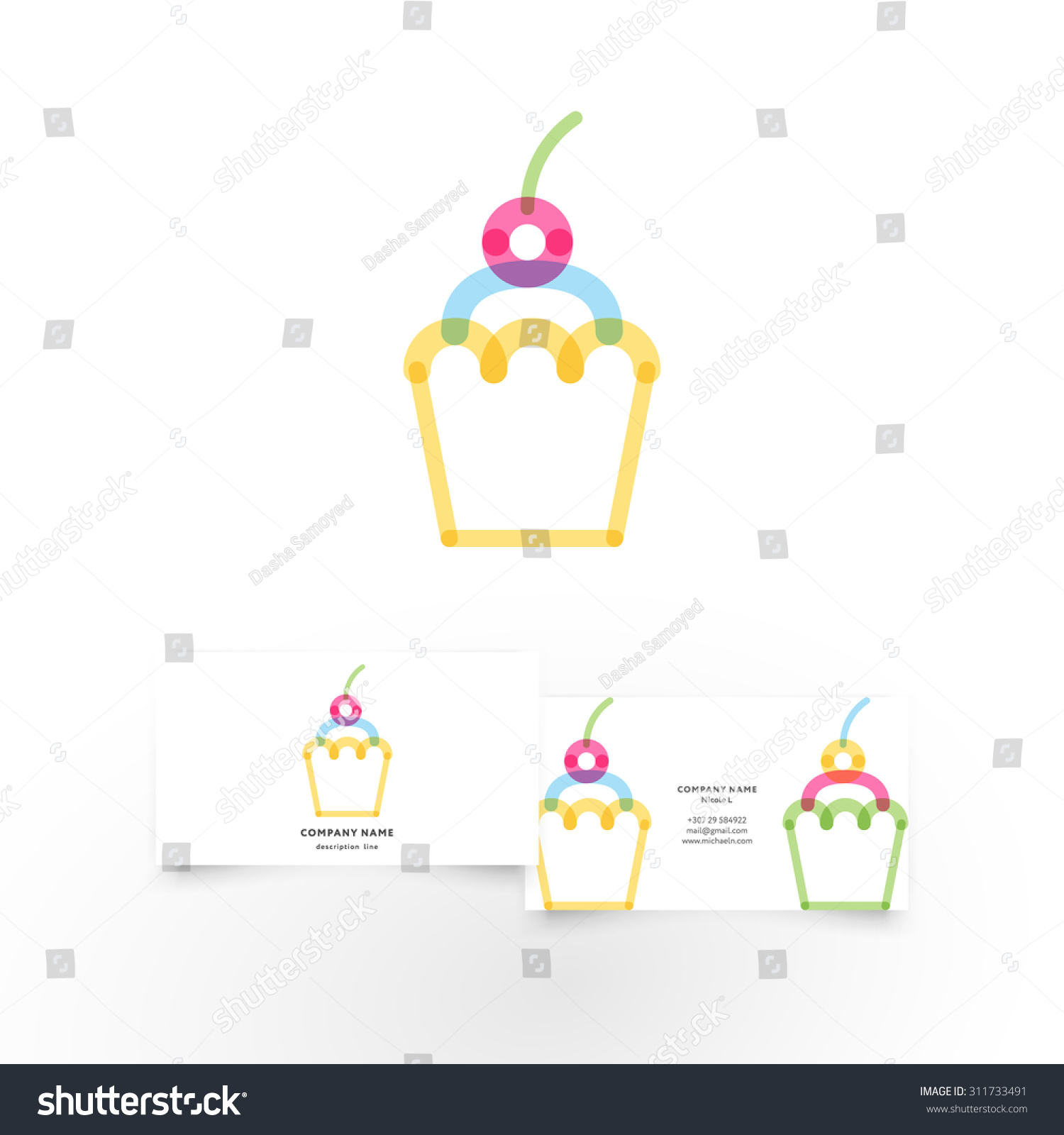 Modern Abstract Cupcake Element Business Card Stock Vector Royalty