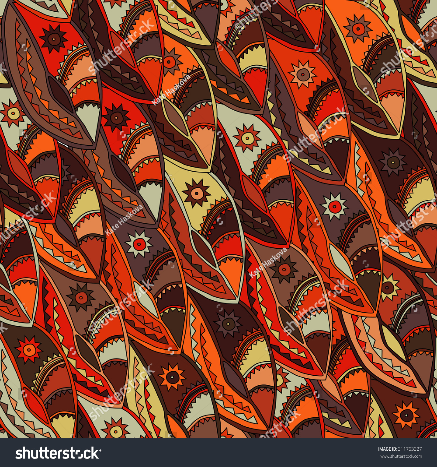 Colourful Ethnic Pattern Earth Tones Motifs Stock