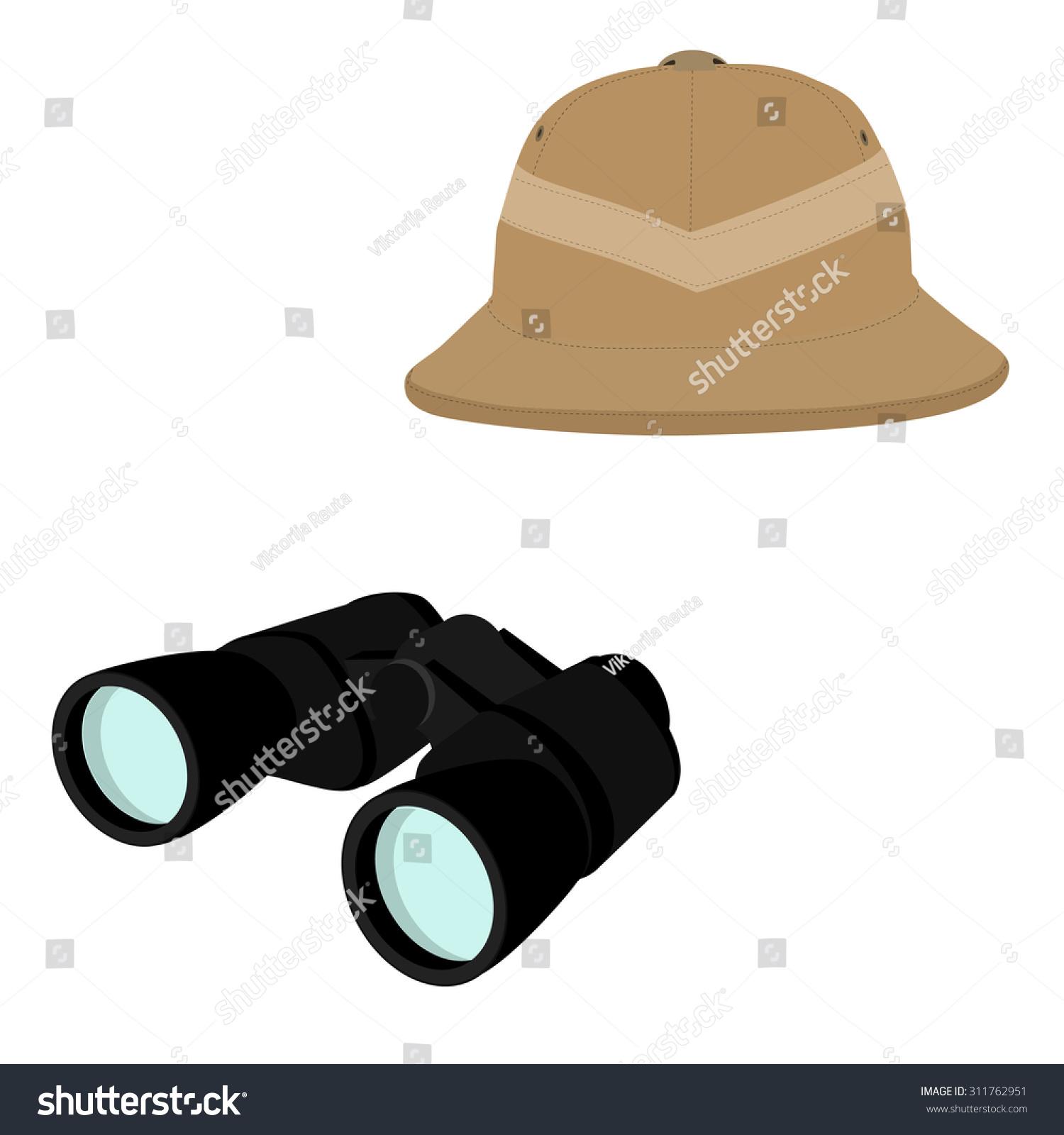 Vector illustration of safari hat and black binoculars. Safari concept.  Traveling icons pith helmet bb38170de6f