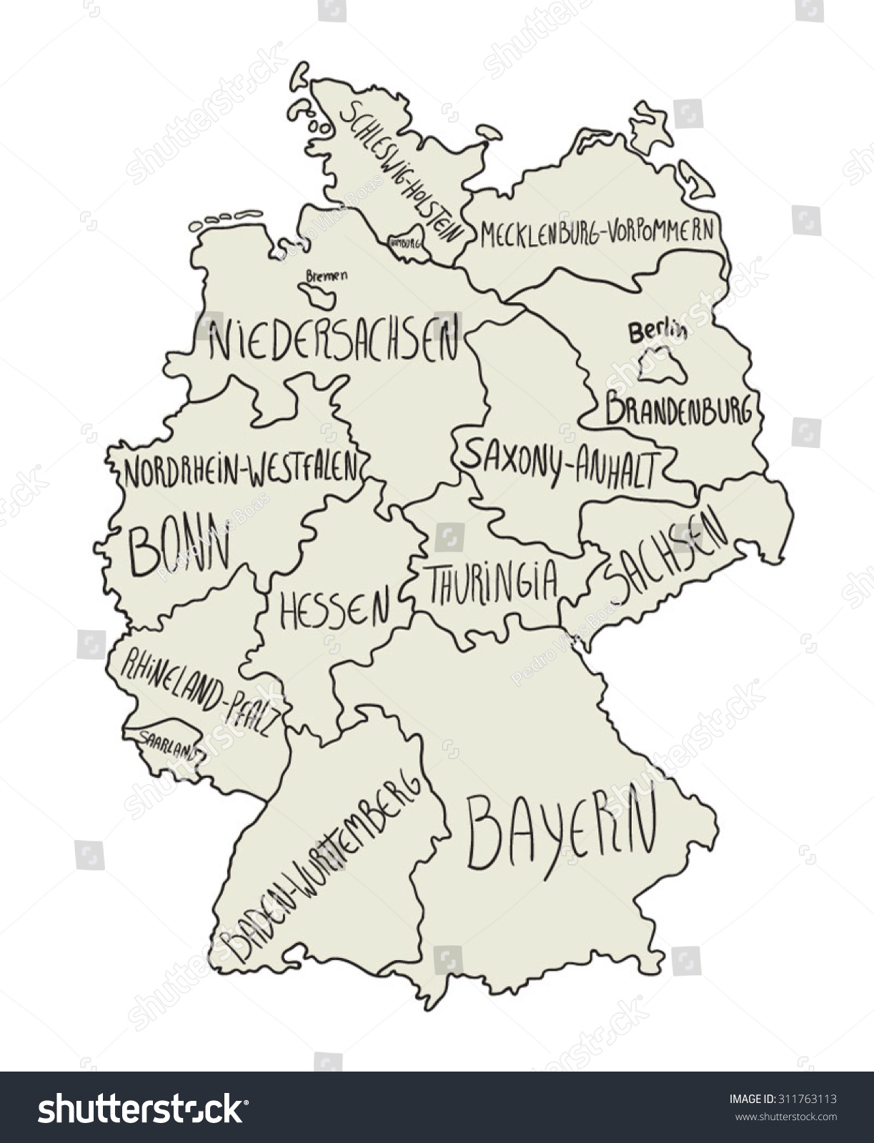 Cartoon Map Germany Stock Vector Shutterstock - Germany map cartoon