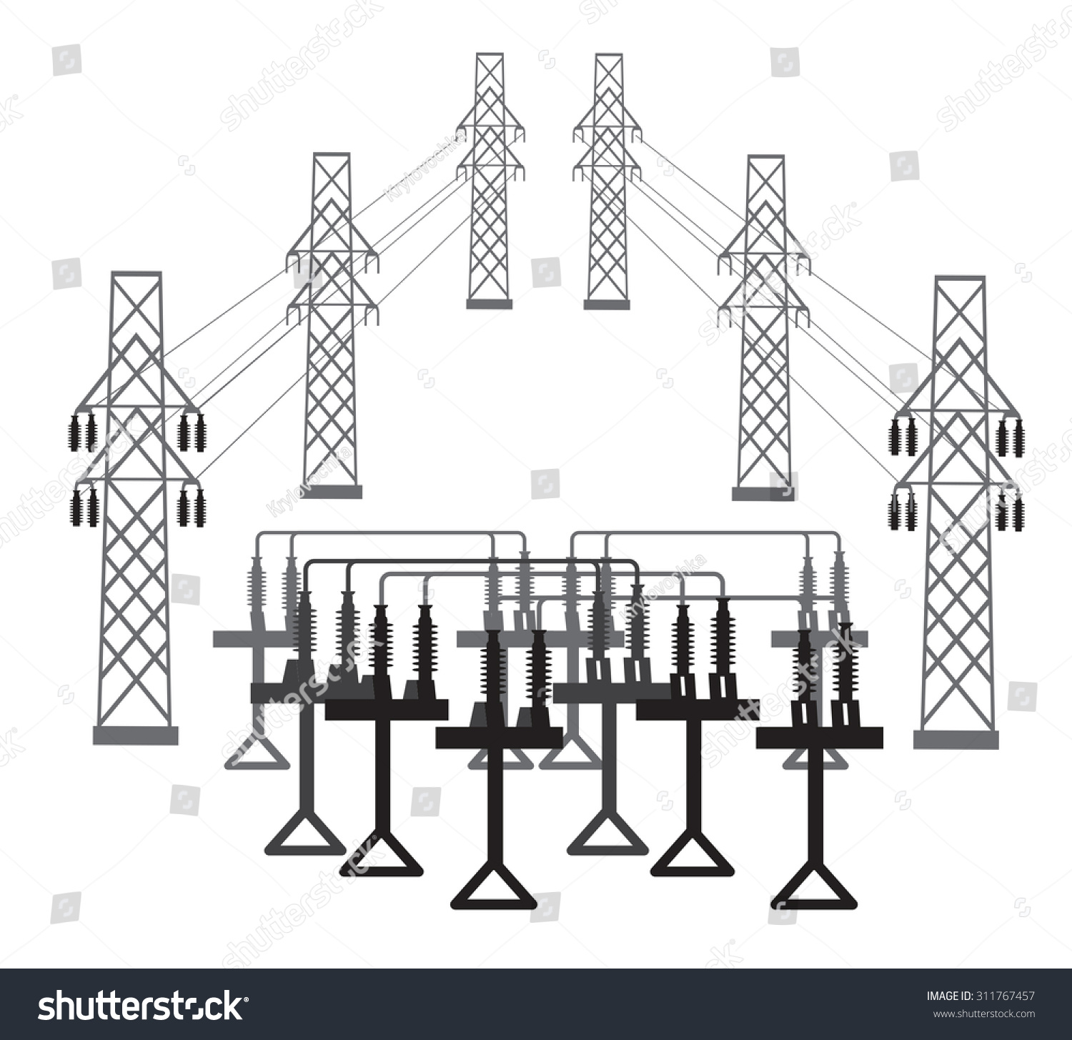 Vector Silhouette Electric Transformer Substation Stock Electrical Drawing Of