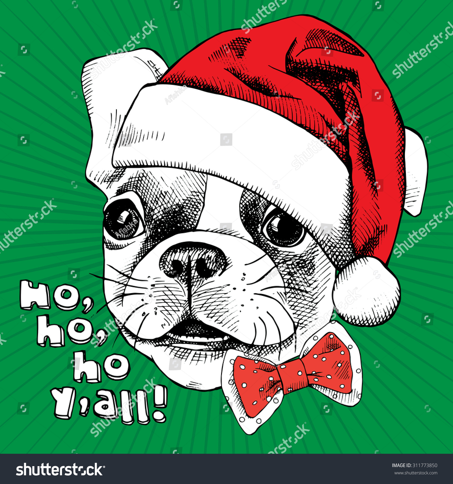 Christmas Card Portrait French Bulldog Santa Stock Vector (Royalty ...