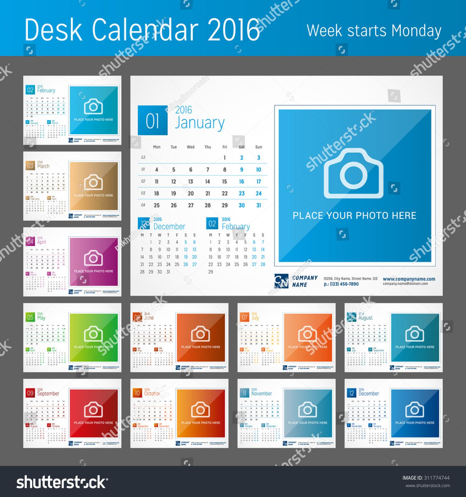 Desk Calendar Design Samples : Desk calendar for year set of months vector
