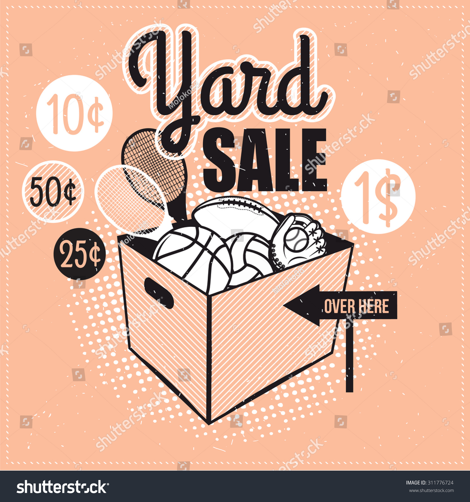 Garage Yard Sale Signs Box Household Stock Vector 311776724 ...