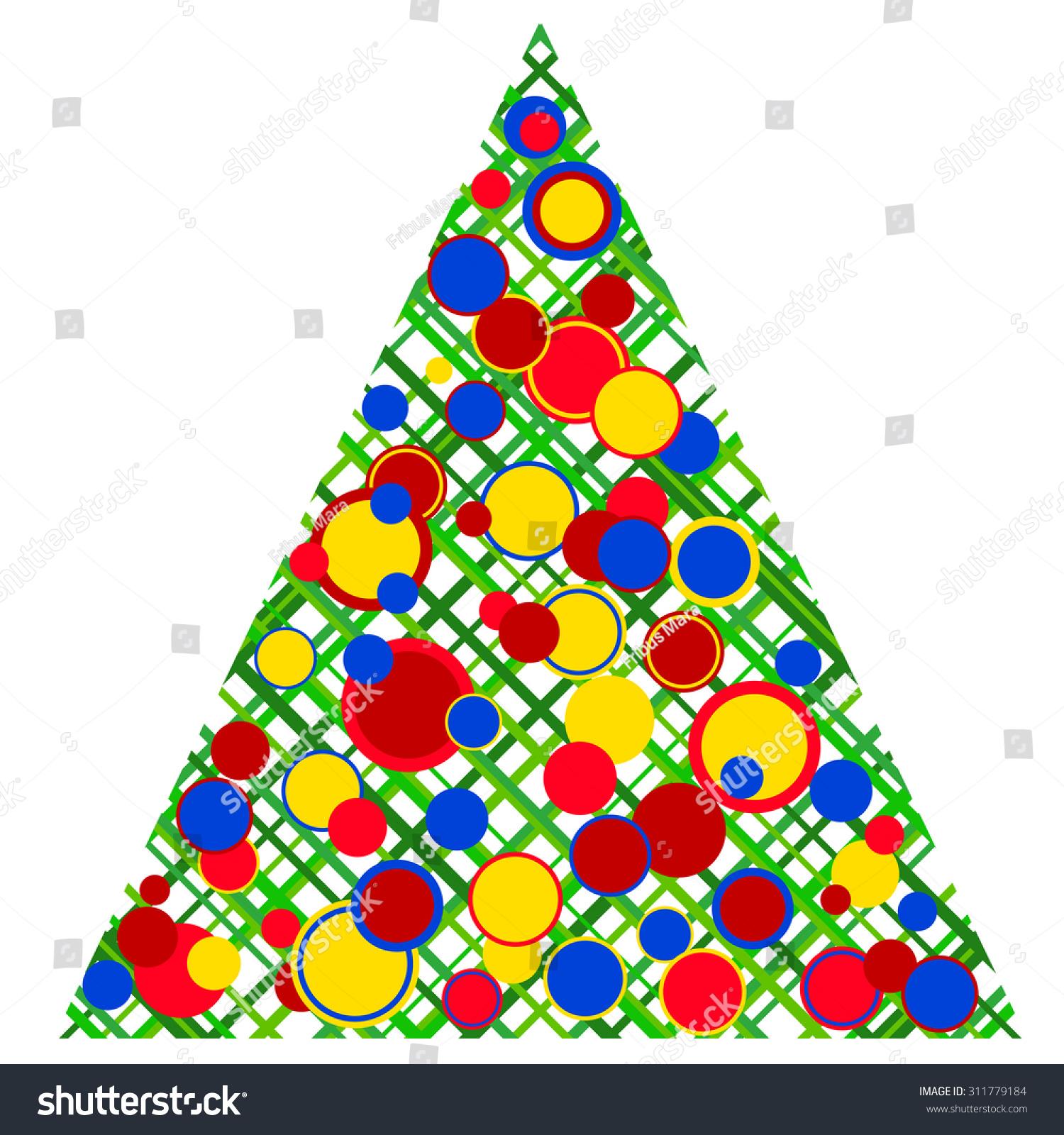 Stylized christmas tree ornaments stock illustration