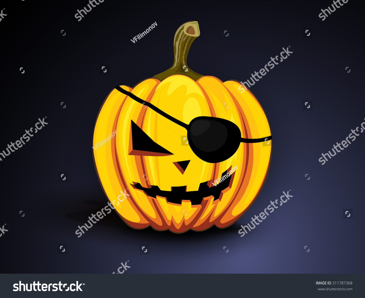 Cool Pumpkin Faces Paint Angry Oneeyed Pirate Pumpkin Cool Stock Illustration