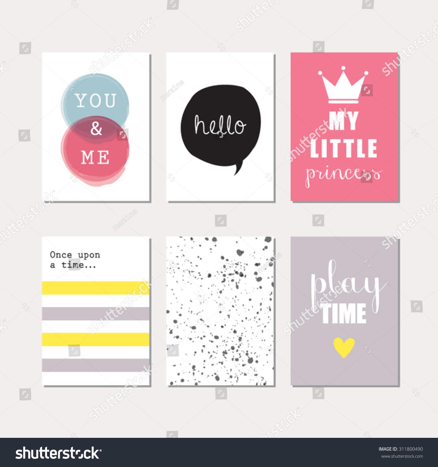 Set Journaling Cards Newborn Baby Girl Stock Vector Royalty Free