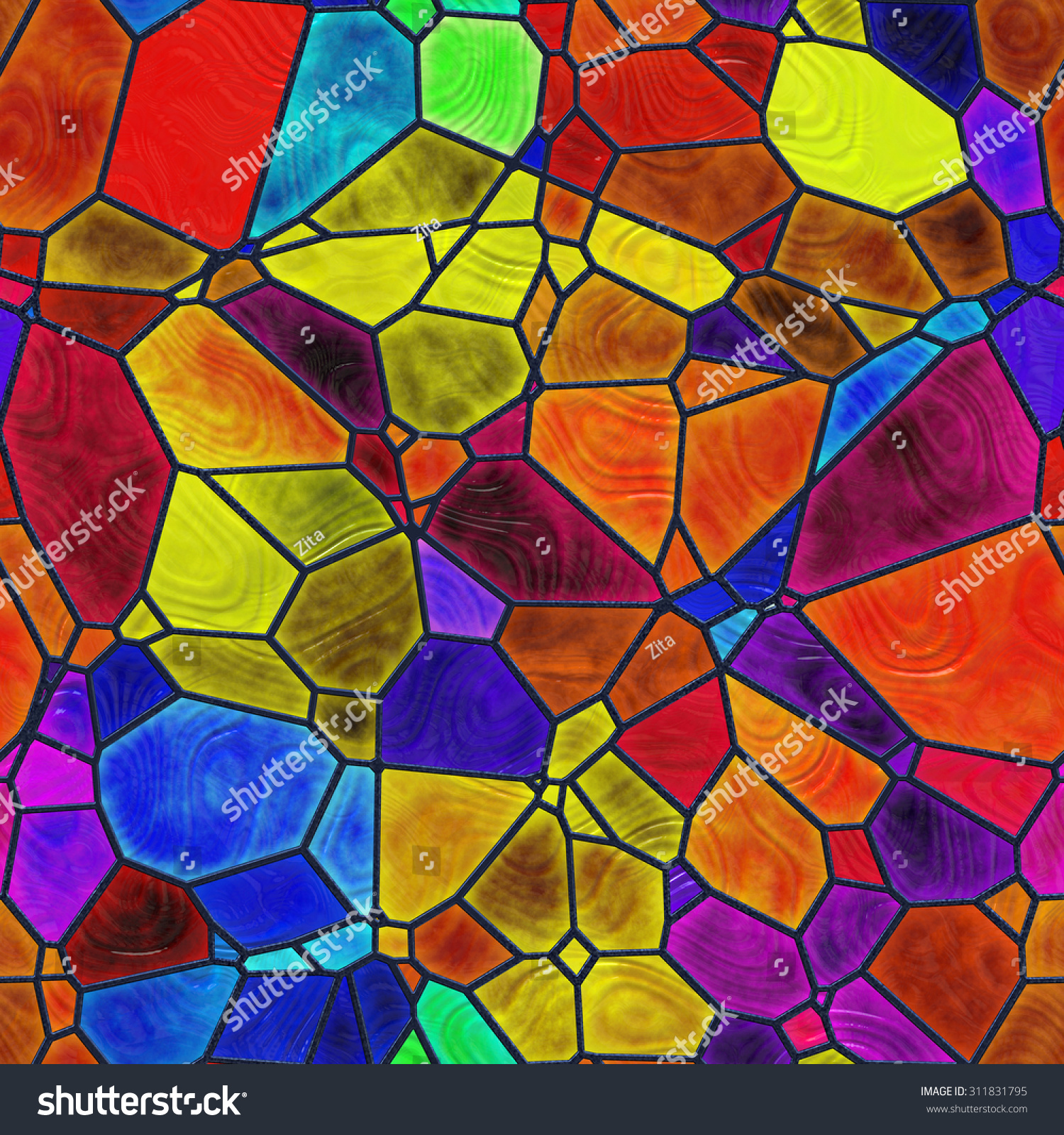 Seamless Stained Glass Pattern Stock Illustration 311831795
