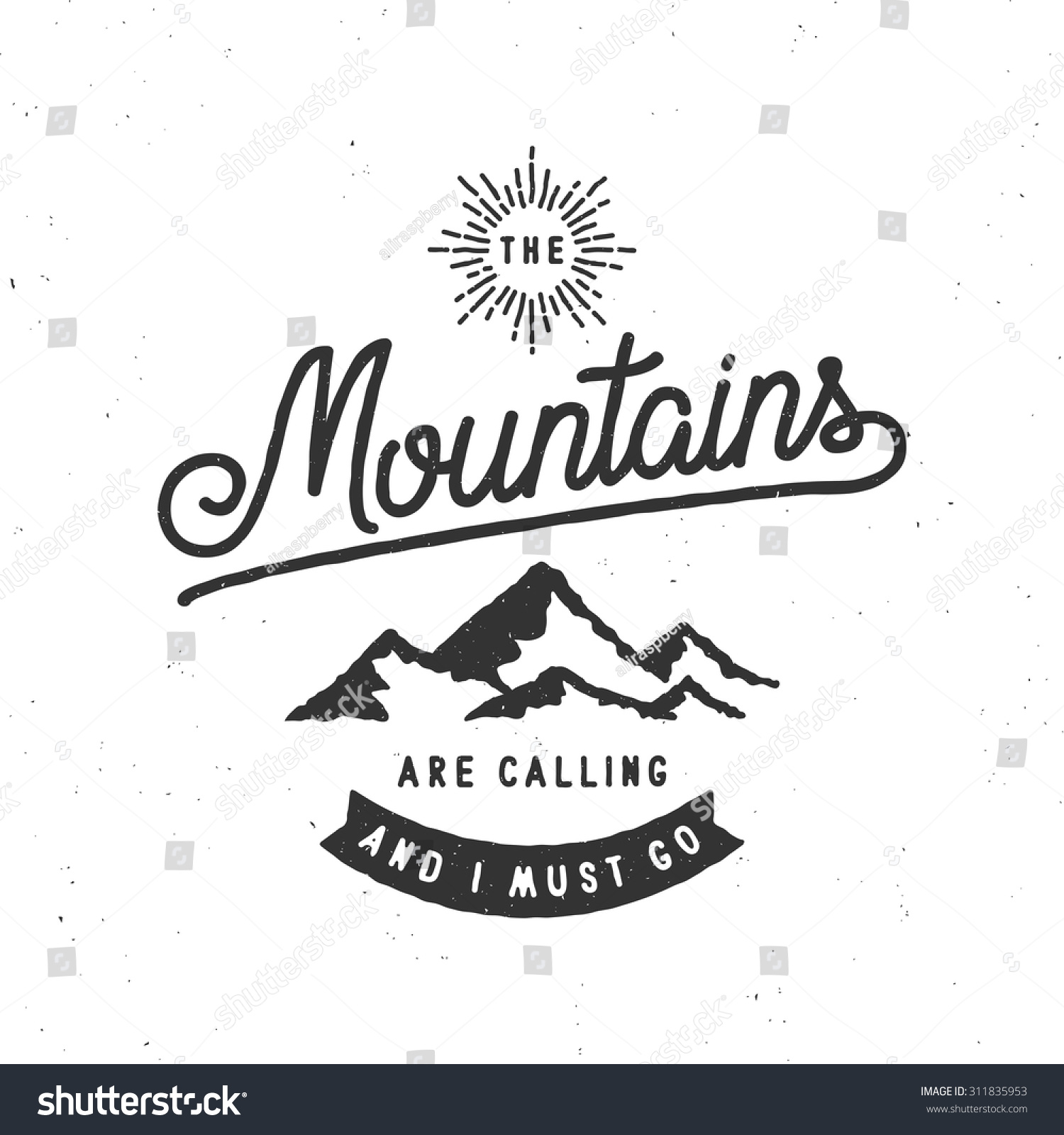 Mountains calling must go vintage stylized stock vector for The mountains are calling and i must go metal sign