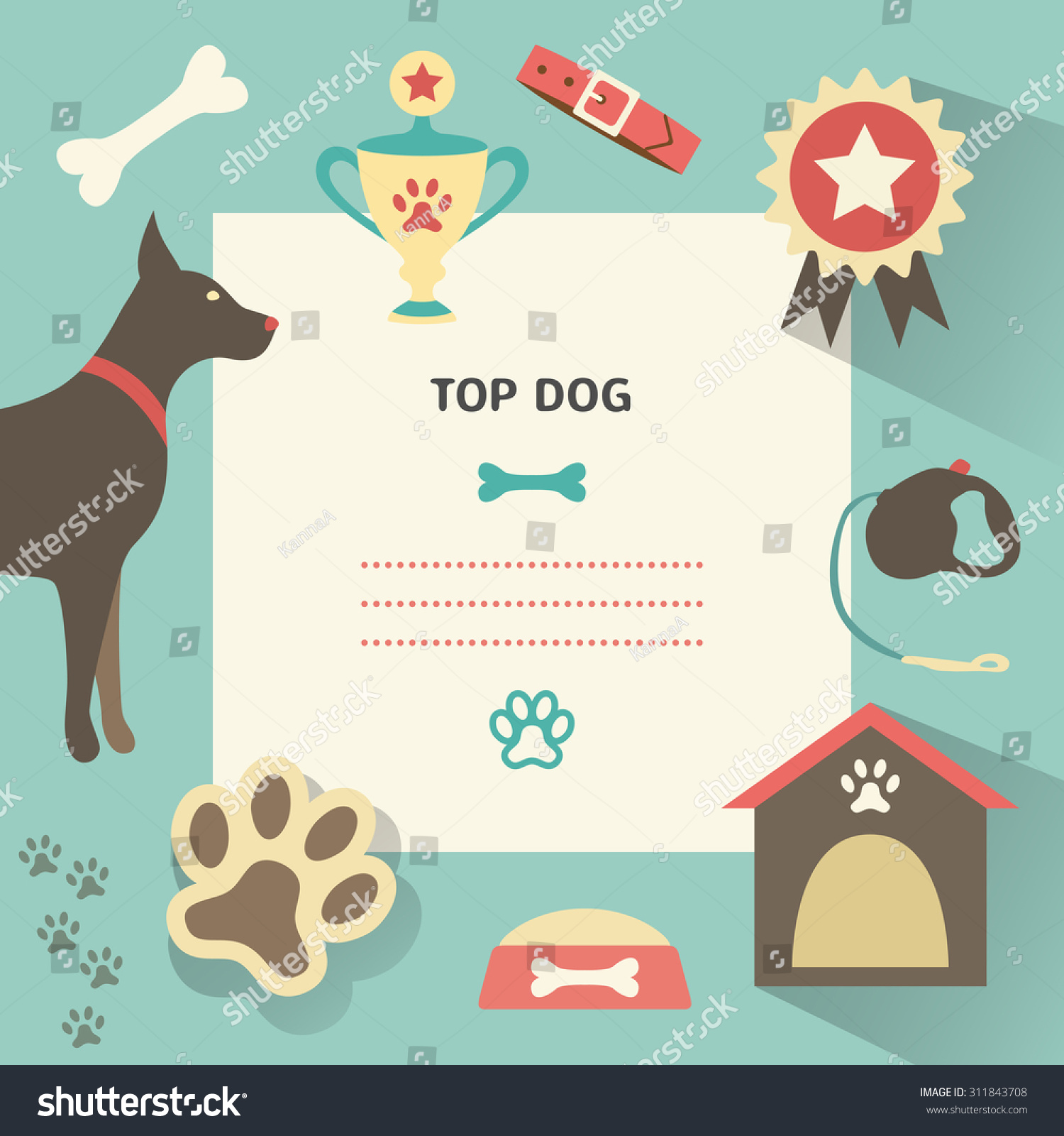 Retro dog template profile canine full stock illustration for Dog show certificate template
