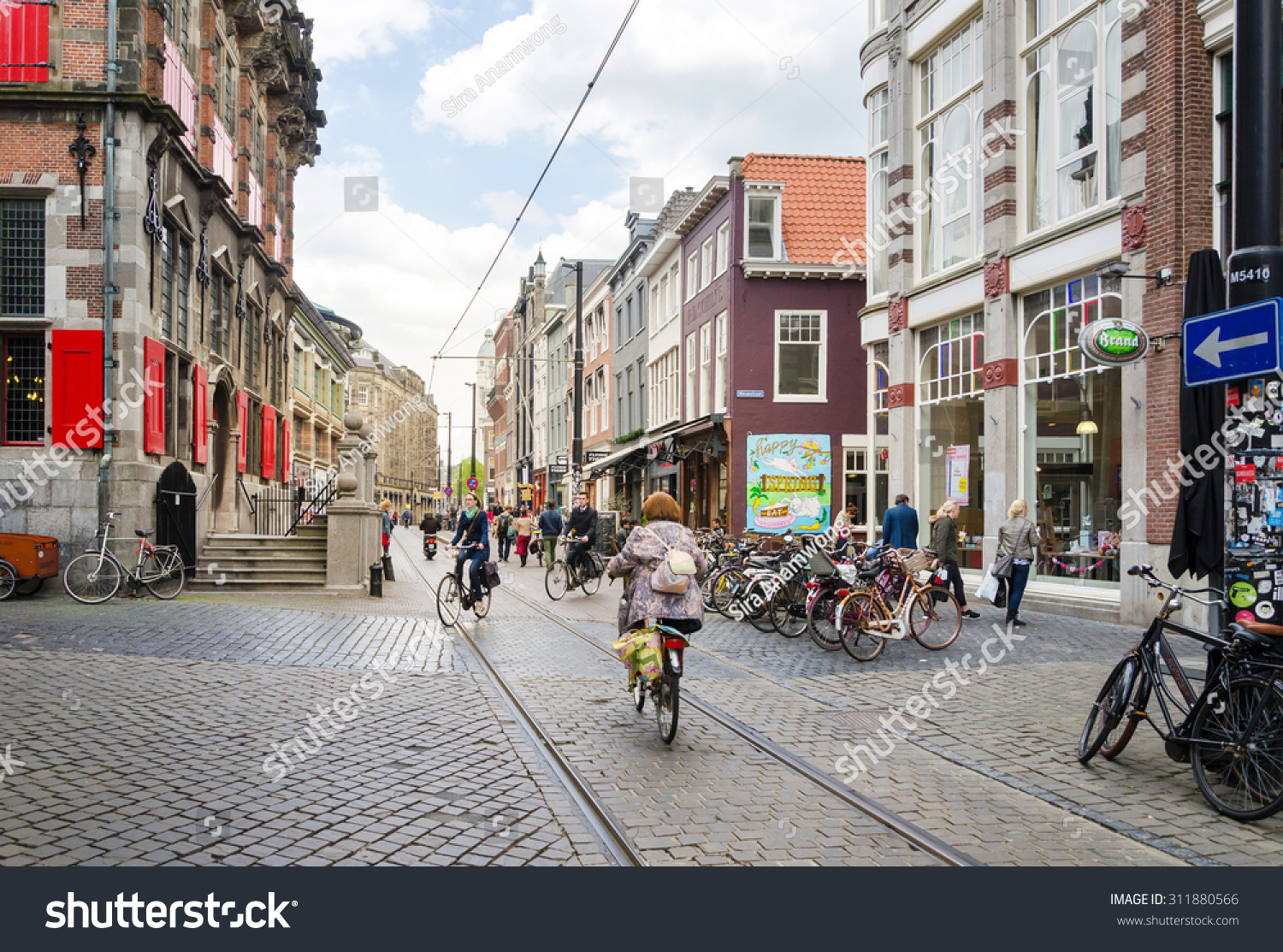 The Hague Netherlands May 8 2015 People shopping on venestraat shopping street in The Hague Netherlands on May 8 2015 The Hague is the capital city of the province of South Netherlands
