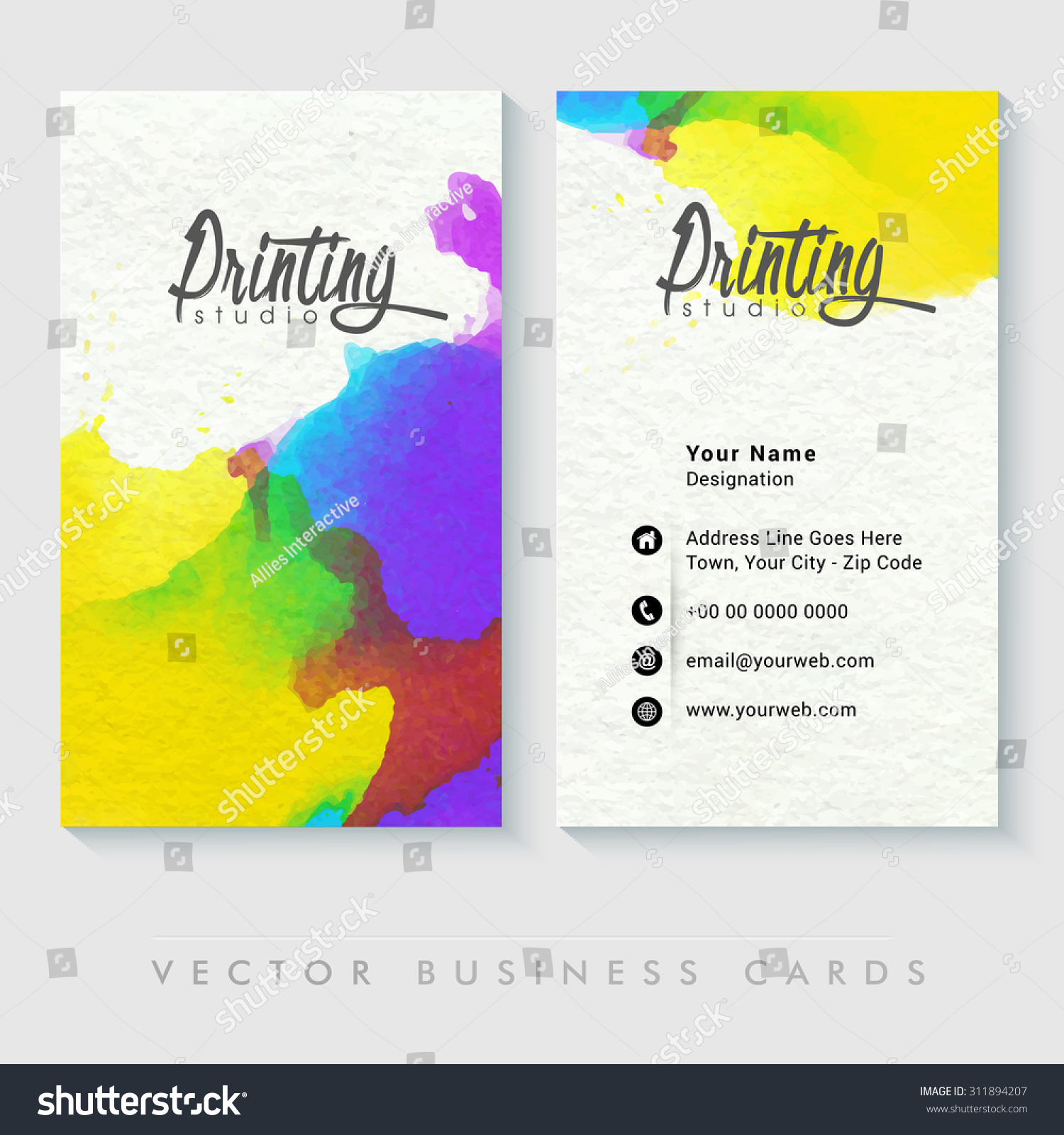 Colorful Professional Business Card Design Creative Stock Vector ...