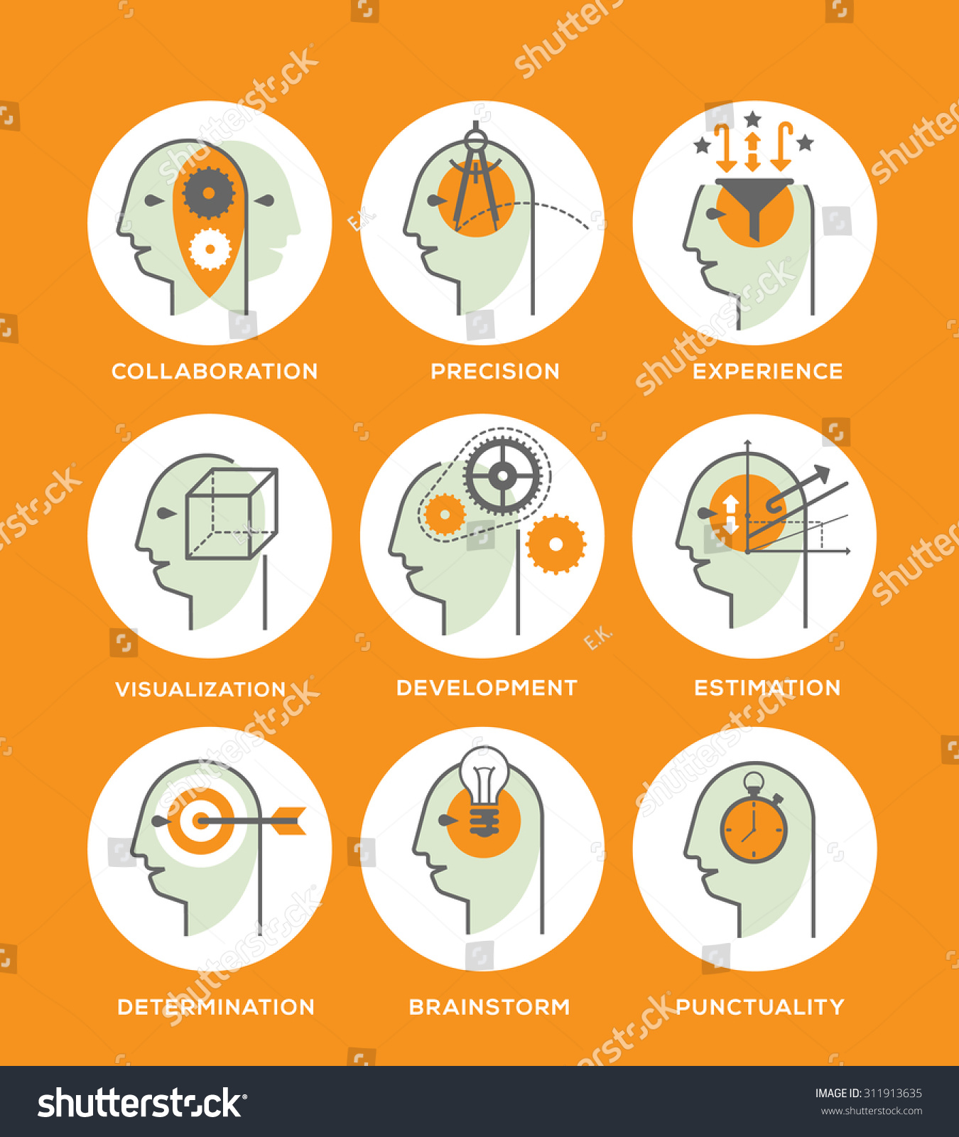 line icon set representing symbols personal stock vector 311913635 line icon set representing symbols of personal skills essential for successful education and career